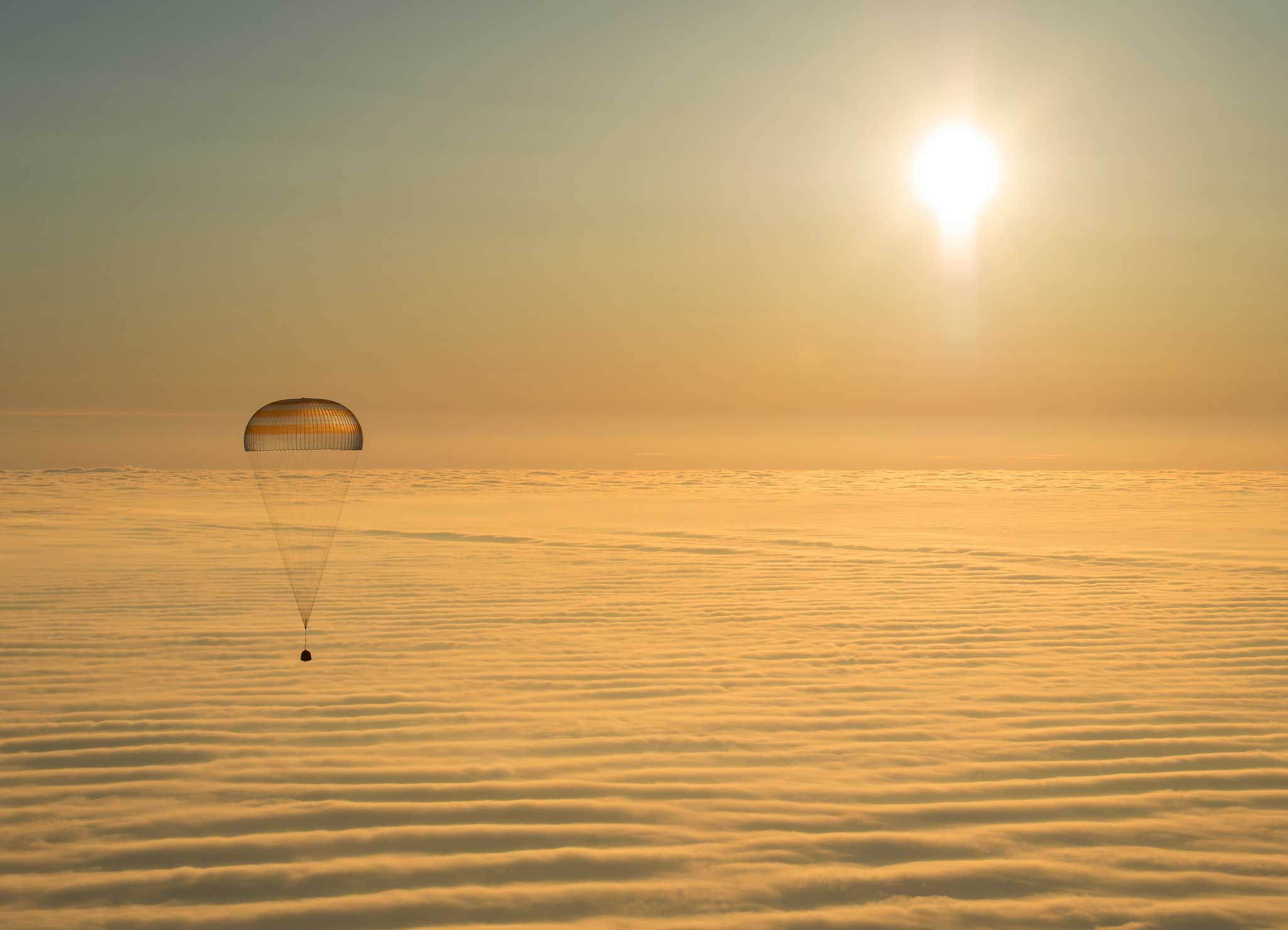 A Soyuz spacecraft is seen as it returns home with NASA astronaut Barry Wilmore and Russian cosmonauts Alexander Samokutyaev and Elena Serova of Roscosmos, near the town of Zhezkazgan, Kazakhstan on March 12, 2015.