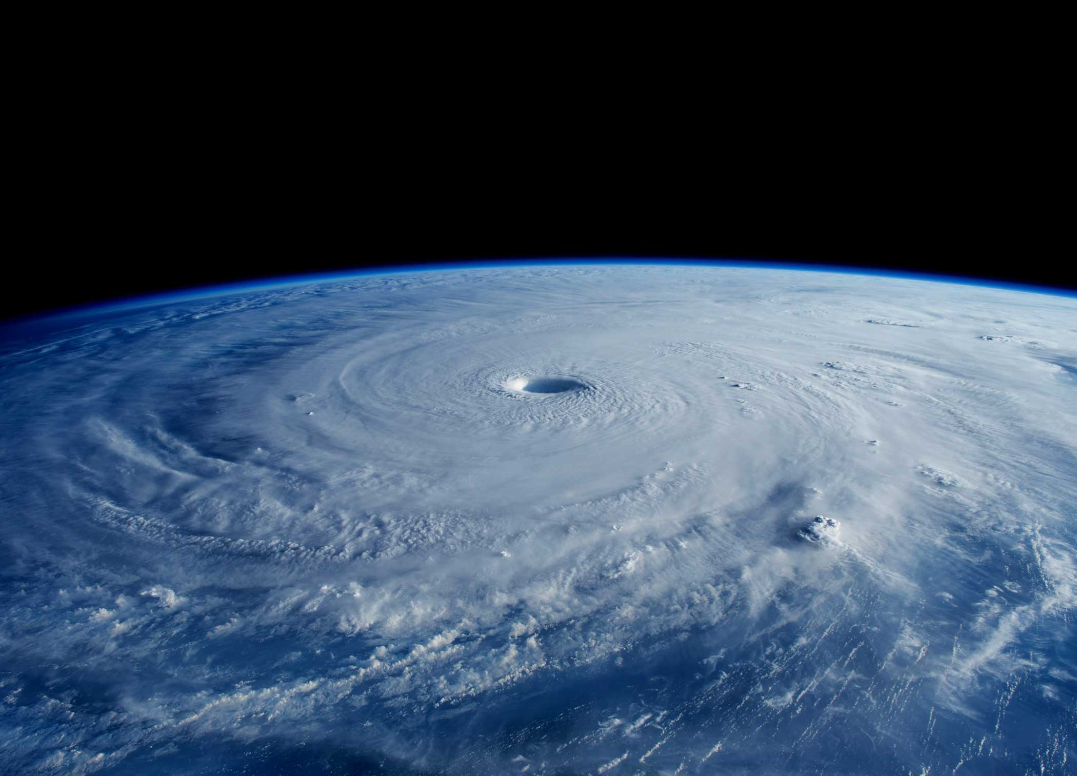 "Super Typhoon Maysak, as seen from aboard the International Space Station on March 31, 2015. NASA Astronaut Terry Virts captured this image and <a href=""https://twitter.com/astroterry/status/583234918509121536?lang=en"" target=""_blank"">tweeted</a> ""The eye of #Maysak typhoon really stands out early in the morning with the shadow being cast deep into the vortex."" His ESA crewmate on station also viewed the storm and wrote, ""Commands respect even from #space..."""