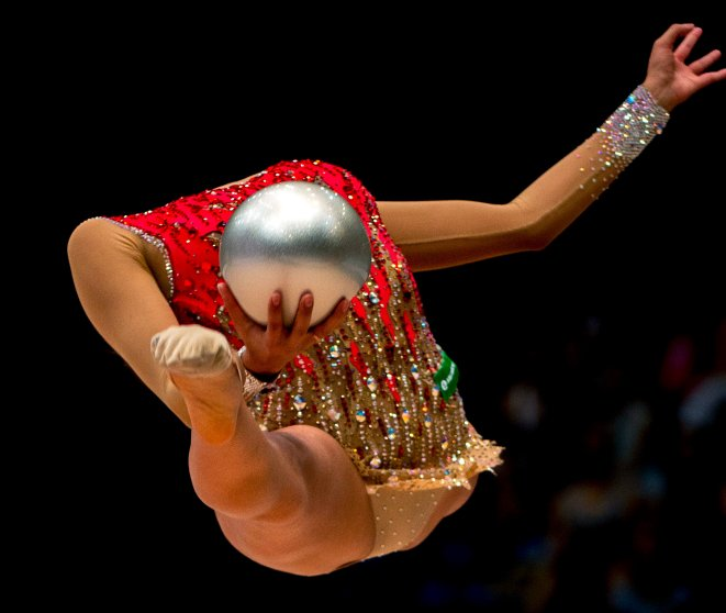 Margarita Mamun, of Russia, performs the ball exercise at the Hungarian Rhythmic Gymnastics World Cup tournament in Budapest on Aug, 9, 2015.