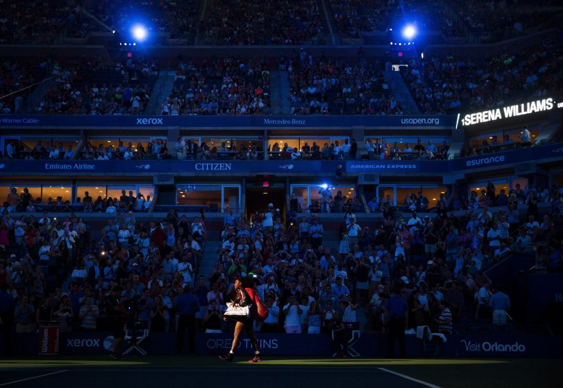 Serena Williams takes the court at the U.S. Open for her first match on Aug. 31, 2015 in New York.
