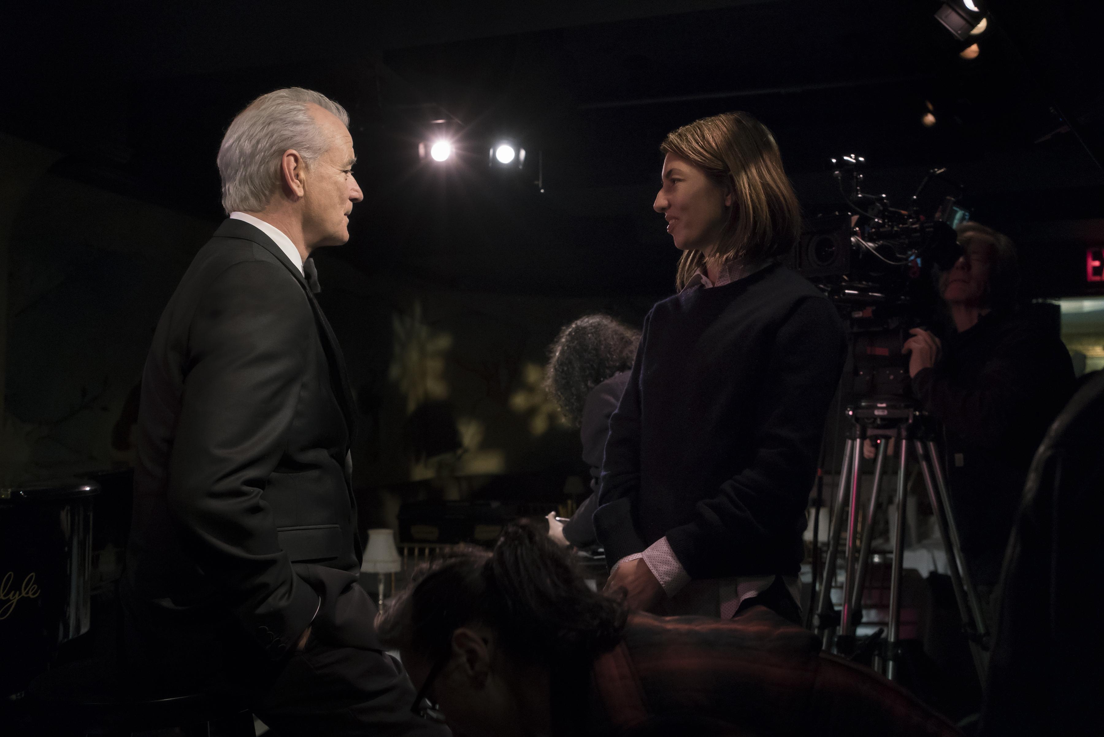 Bill Murray and Sofia Coppola on the set of A Very Murray Christmas.