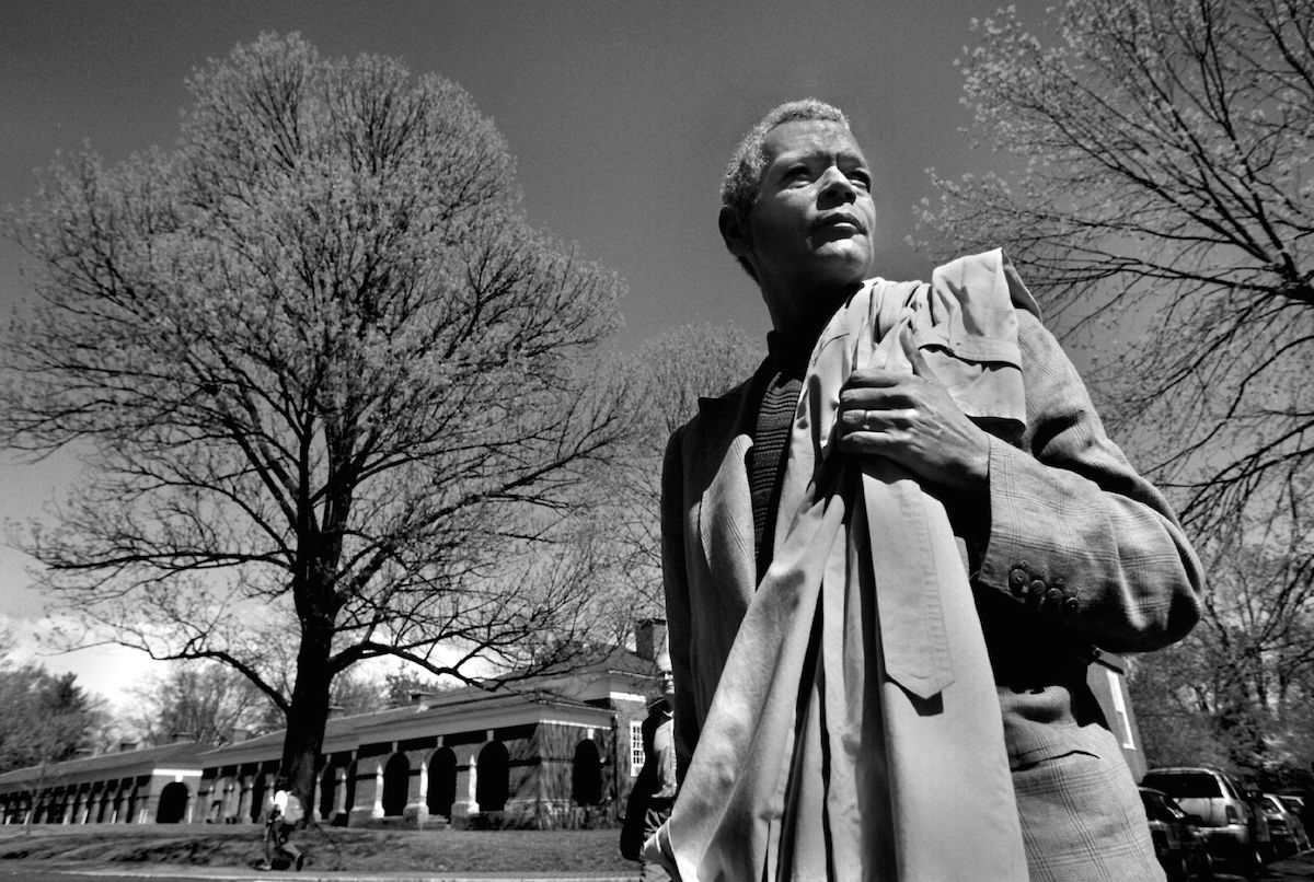 Dr. Julian Bond closes out his teaching day at UVA in 1998