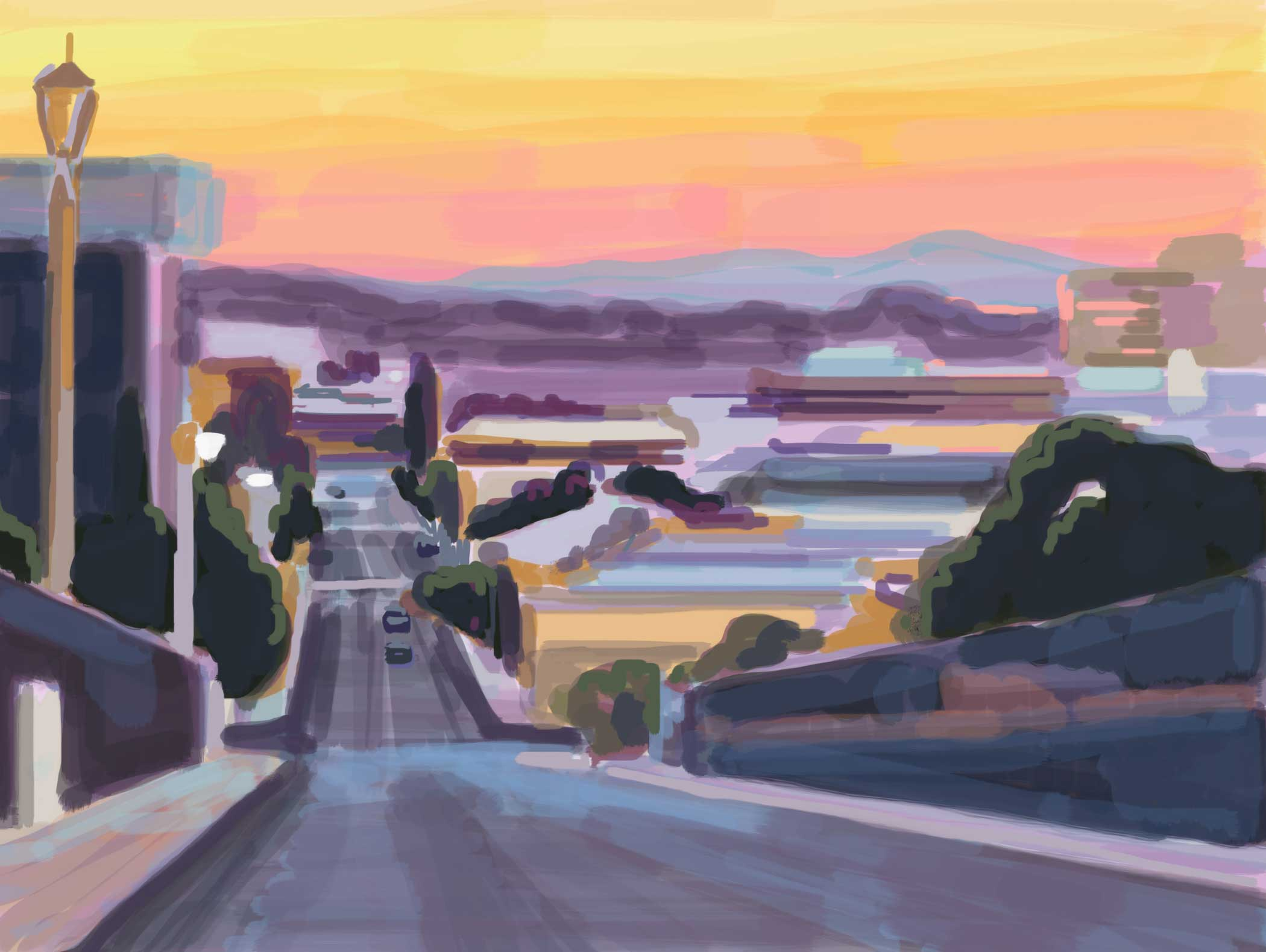 Brian Lotti's interest in exploring urban landscapes stems from his years as a professional skateboarder. But now he hunts for colorful new places to paint. In Pico-Union, he uses an iPad Air 2, the Procreate app, and Pencil by FiftyThree to portray a radiant view of Los Angeles.