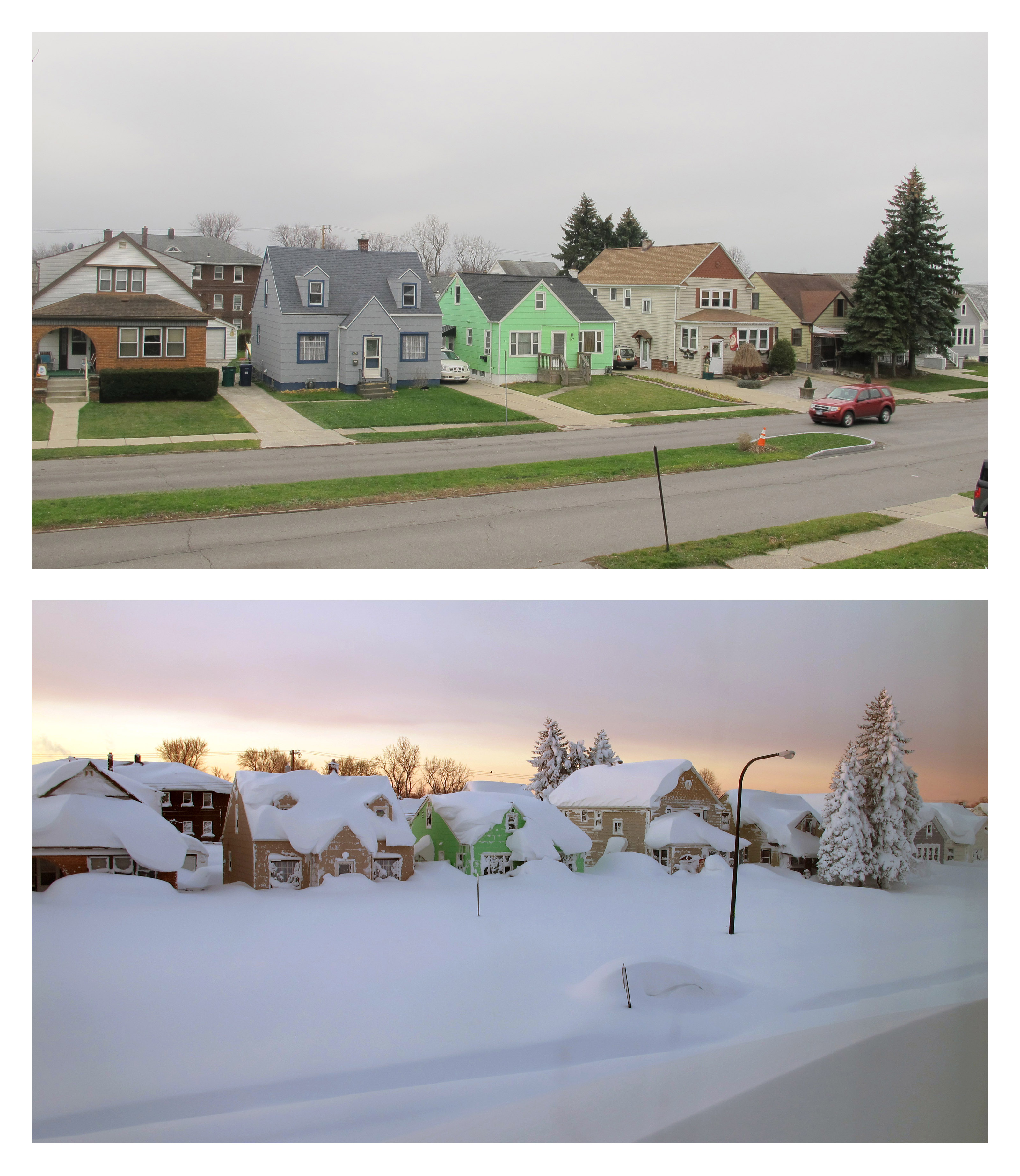 This combination of Dec. 4, 2015, top, and Nov. 19, 2014 photos shows homes in Buffalo, N.Y. The start of the 2015 winter season in Buffalo couldn't be more different from the previous year.