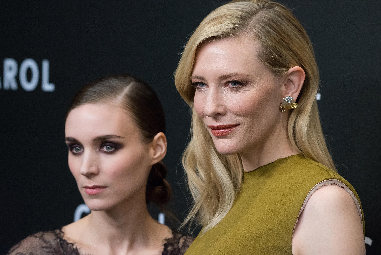 Rooney Mara, left and Cate Blanchett at Museum of Modern Art on Nov. 16, 2015 in New York City.