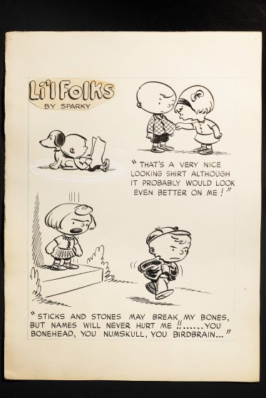 Original art for a handful of unpublished Li'l Folks comic strips, spring 1950. Earlier versions ran on Sept. 19, 1948, top left, June 13, 1948, top right, and Nov. 28, 1948, bottom.