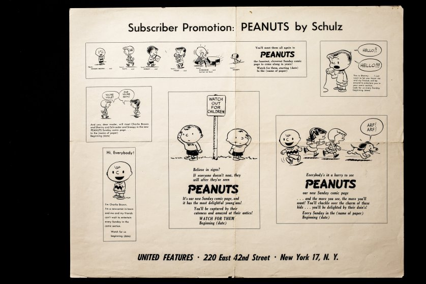 Subscriber promotional ads for launch of Peanuts Sunday comics, which made their debut on Jan. 6, 1952.