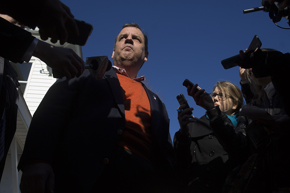 Chris Christie, governor of New Jersey and 2016 Republican presidential candidate, speaks to members of the media during a campaign stop at Liberty House transitional home for veterans in Manchester, New Hampshire, U.S., on Sunday, Dec. 20, 2015.