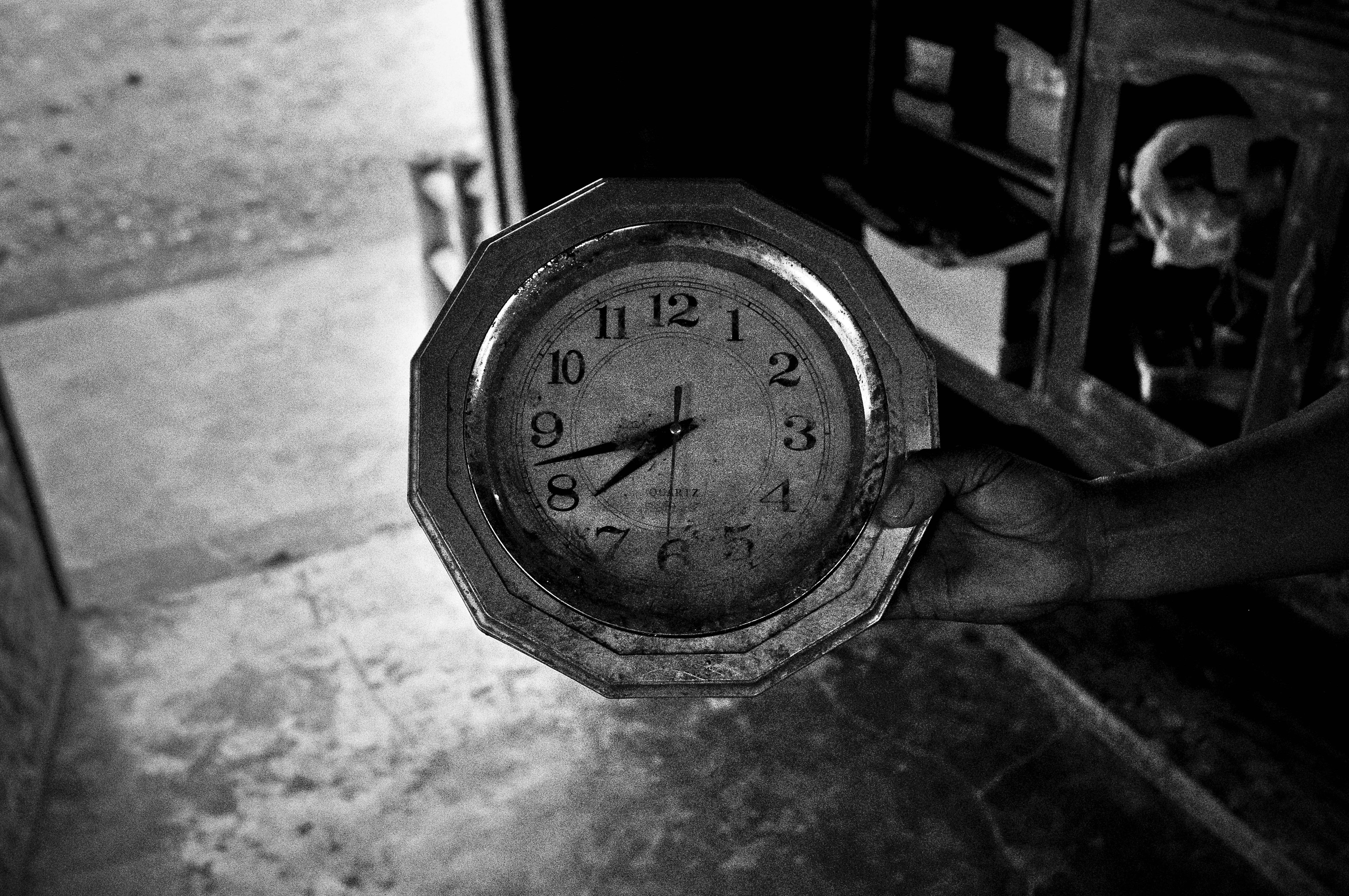 A clock is stopped at the time floodwaters reached the first story of a home in Palo in Leyte,  shown on Feb. 10, 2014.