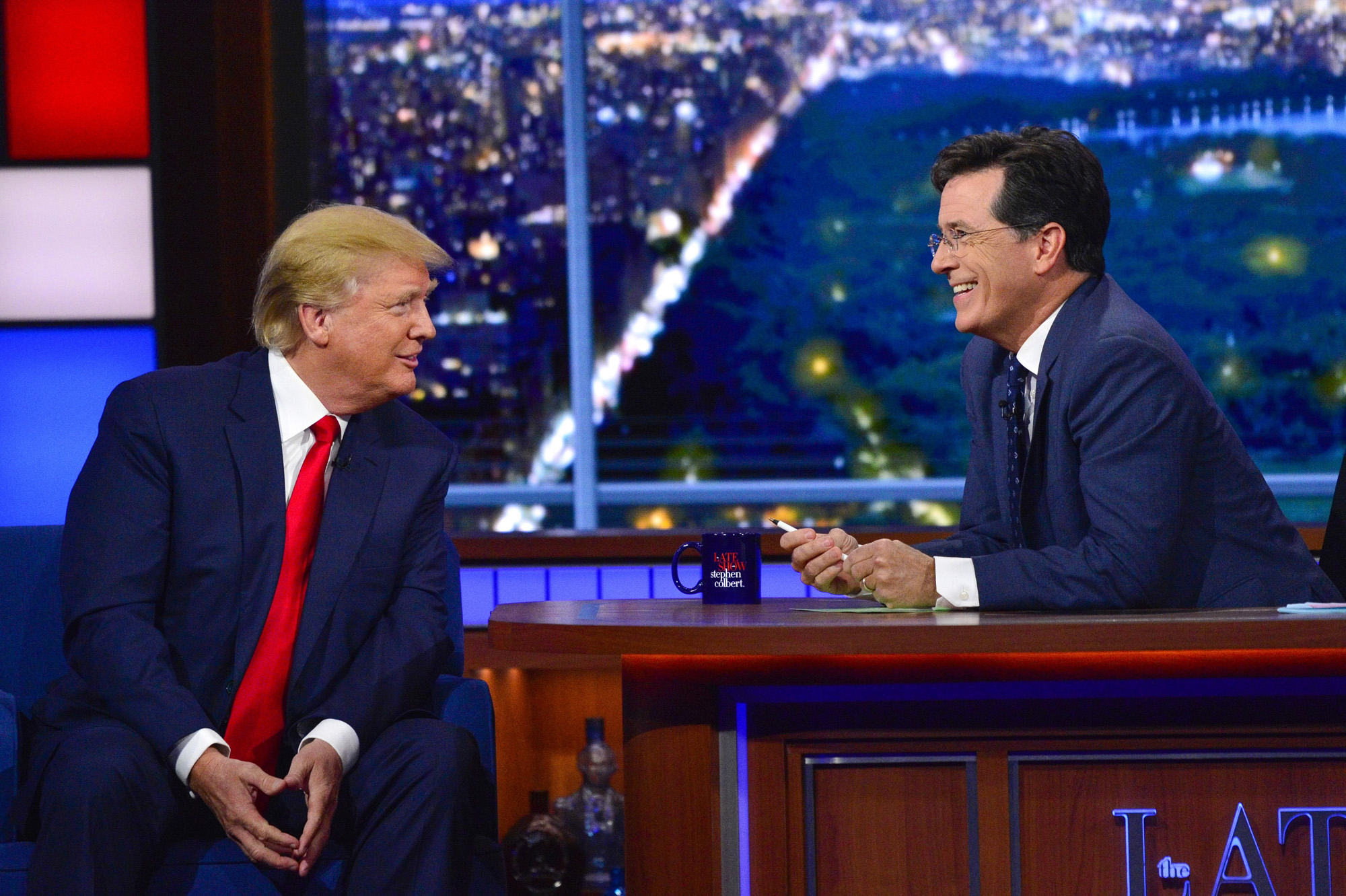 Donald Trump talks about his US Presidential campaign  on The Late Show with Stephen Colbert, Tuesday Sept. 22, 2015 on the CBS Television Network.