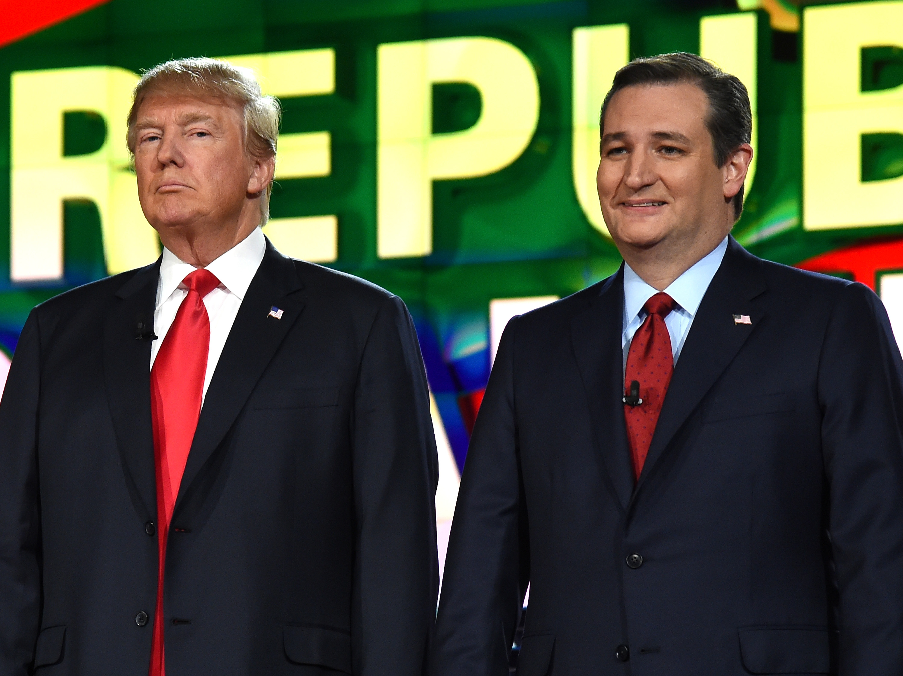 Donald Trump and Ted Cruz during the CNN presidential debate at The Venetian Las Vegas on Dec. 15, 2015.