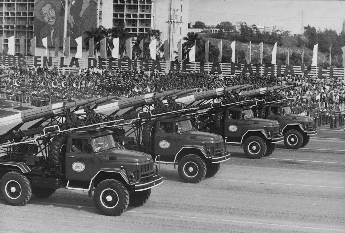 Dec. 2, 1976:  Weapons on display in a military parade to mark the anniversary of the Cuban Revolution of 1956.
