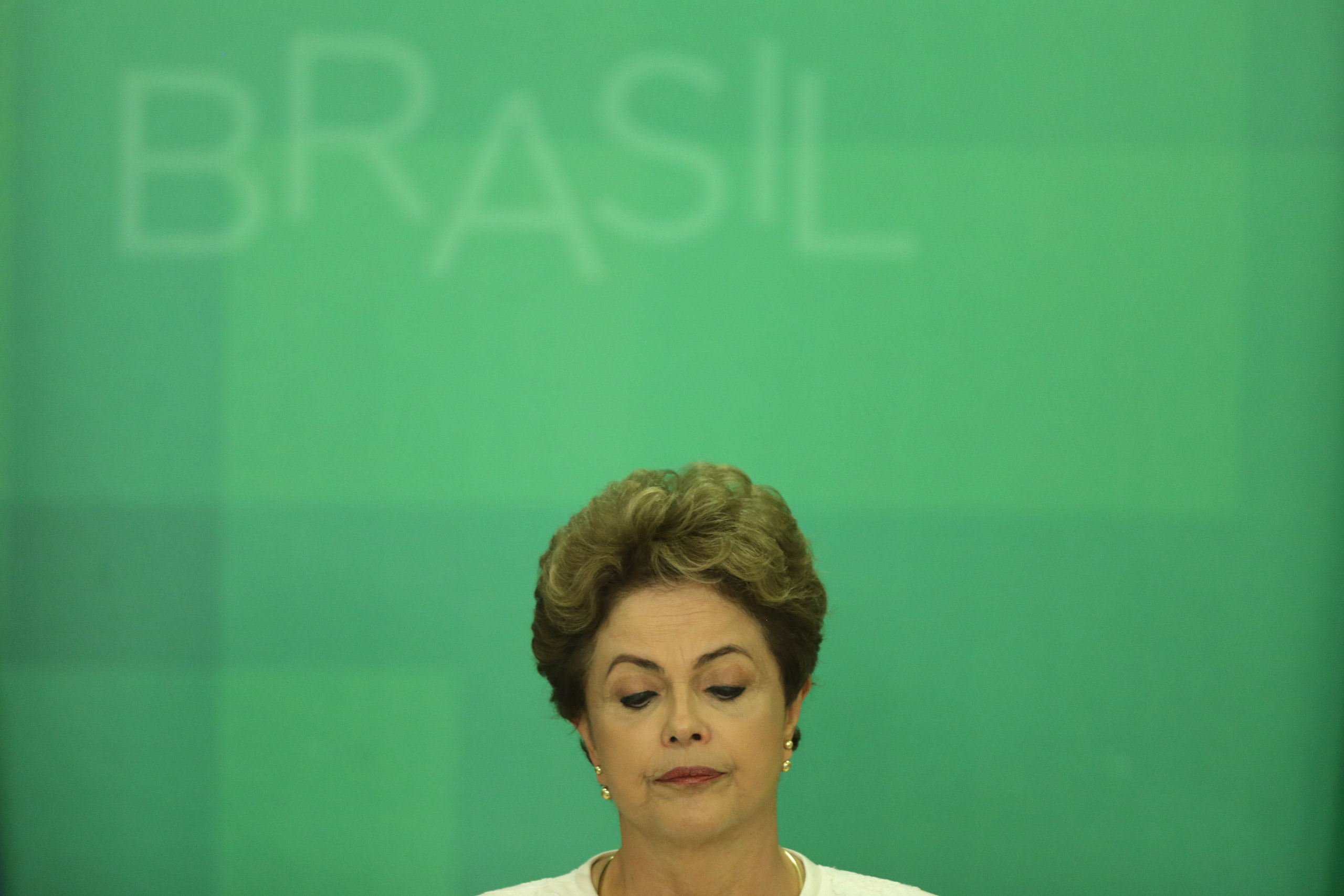Brazil's President Dilma Rousseff during a press conference after impeachment proceedings were opened against her by the President of Chamber of Deputies Eduardo Cunha, at the Planalto Presidential Palace in Brasilia on Dec. 2, 2015.