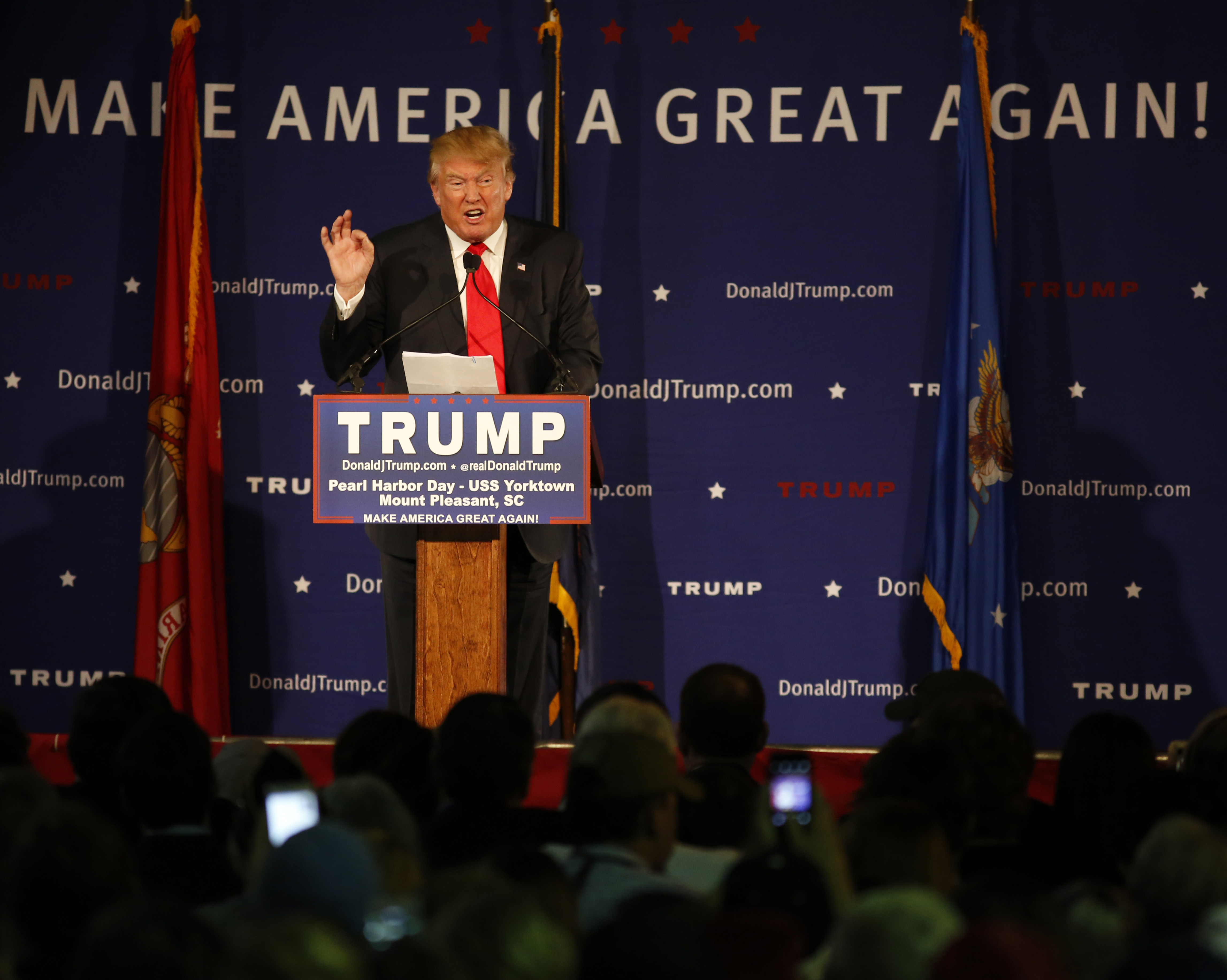 Republican presidential candidate Donald Trump speaks during a rally coinciding with Pearl Harbor Day at Patriots Point aboard the aircraft carrier USS Yorktown in Mt. Pleasant, S.C.