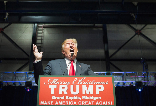 Republican presidential candidate Donald Trump speaks to guests at a campaign rally on December 21, 2015 in Grand Rapids, Michigan.