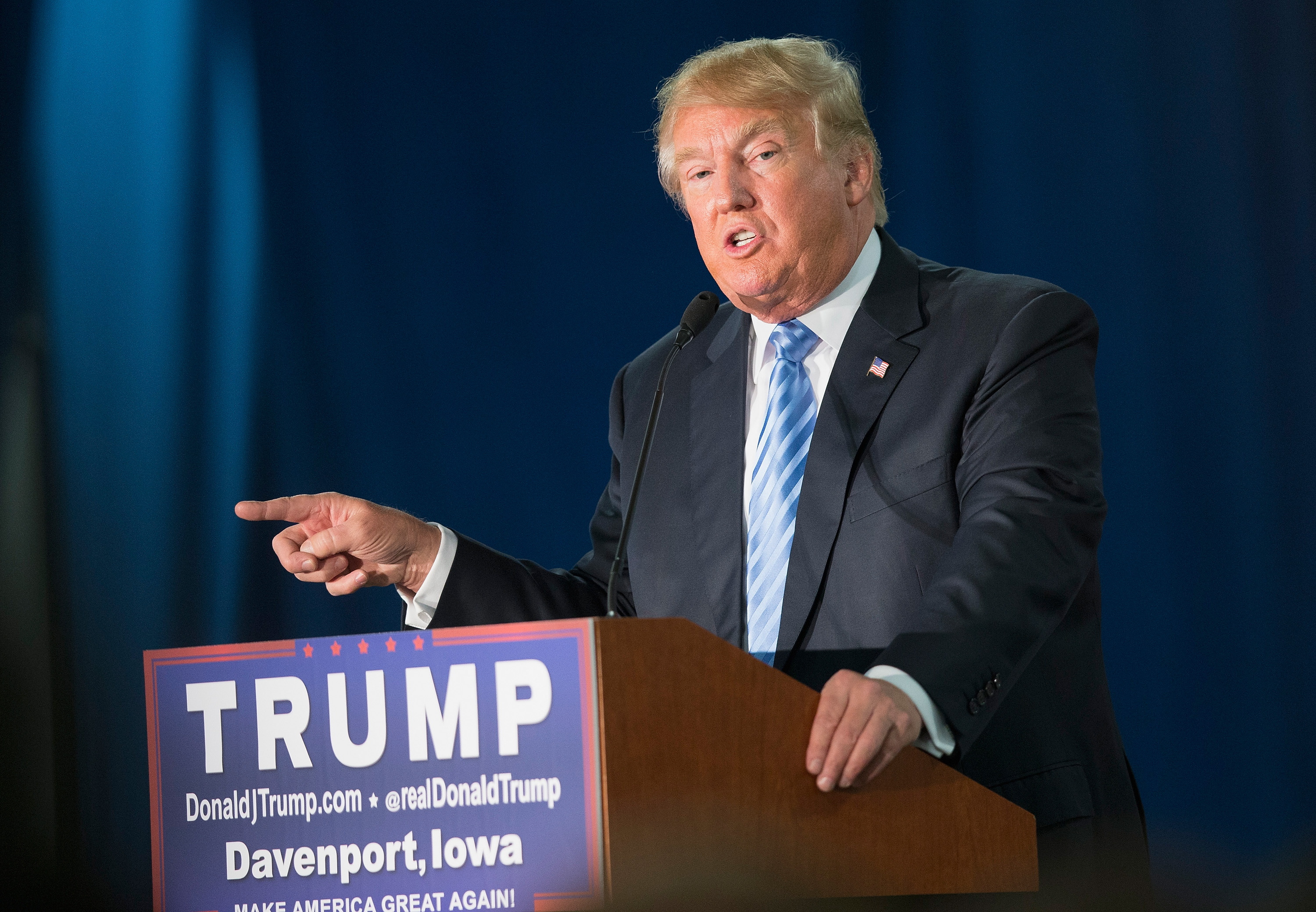 Republican presidential candidate Donald Trump speaks to guests gathered for a campaign event at Mississippi Valley Fairgrounds on December 5, 2015 in Davenport, Iowa.