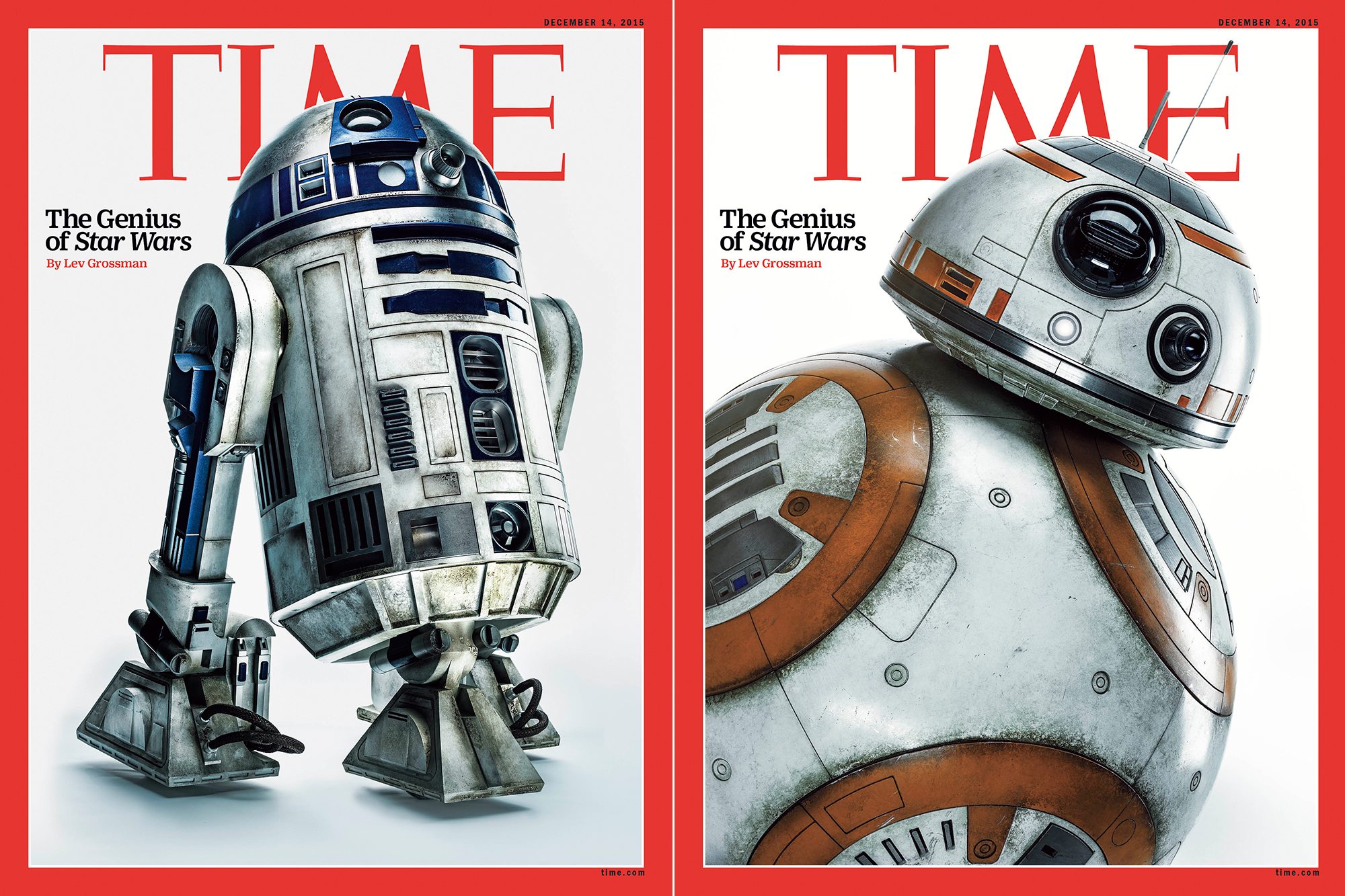 R2-D2 and BB-8 on the cover of the Dec. 14, 2015 issue of TIME.