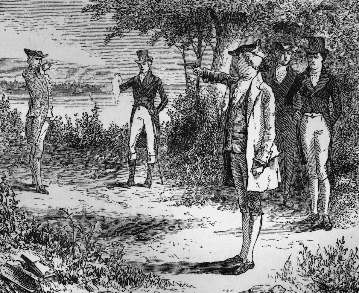 An illustration of the duel between politicians Alexander Hamilton (1757-1804) and Aaron Burr (1756-1836)