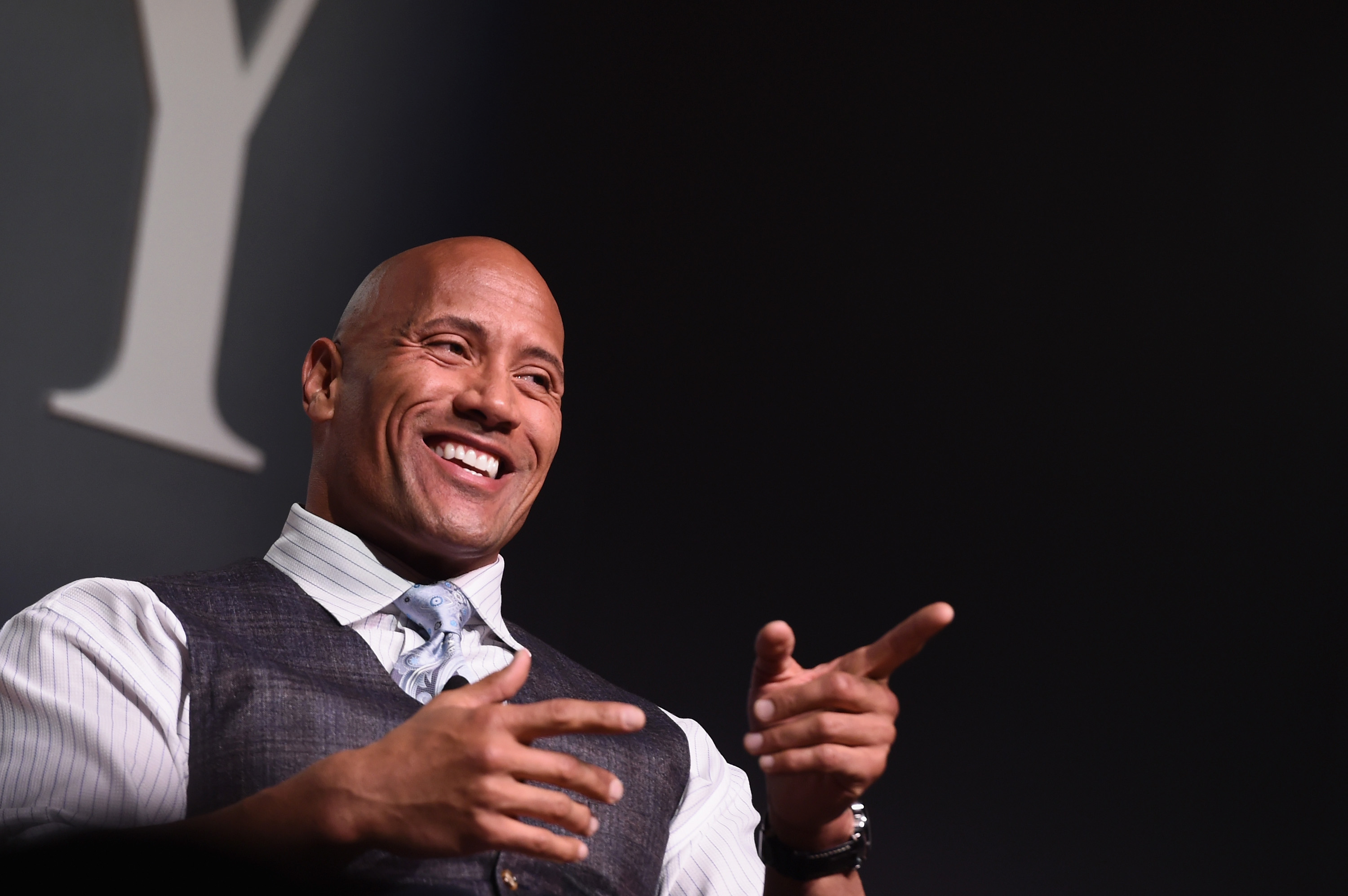 Actor Dwayne  The Rock  Johnson speaks onstage during 'The Next Intersection For Hollywood with William Morris Endeavor's Ari Emanuel, Patrick Whitesell and Dwayne  The Rock  Johnson' at the Fast Company Innovation Festival on November 9, 2015 in New York City.