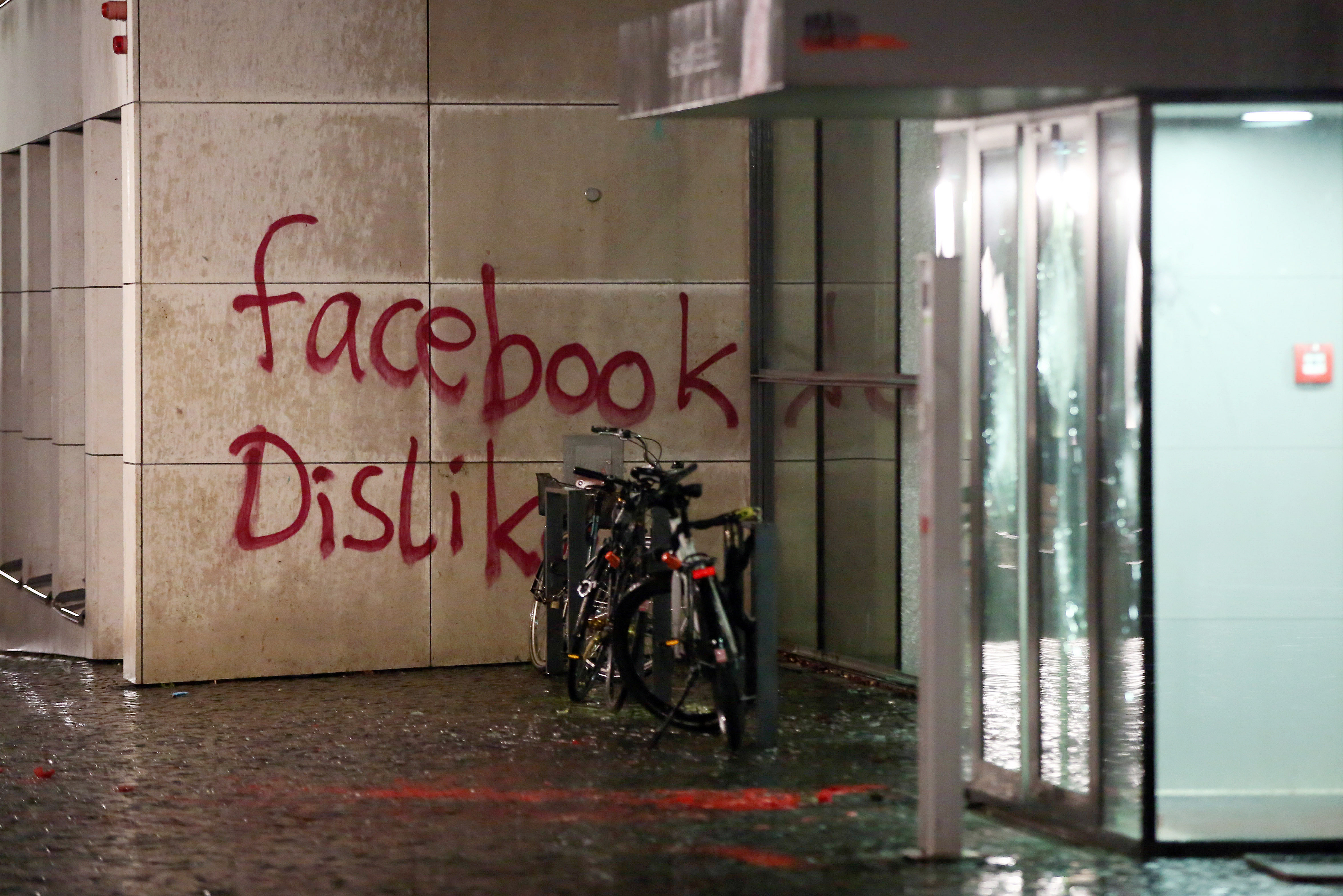 Facebook's German headquarters in Hamburg was destroyed by vandals.