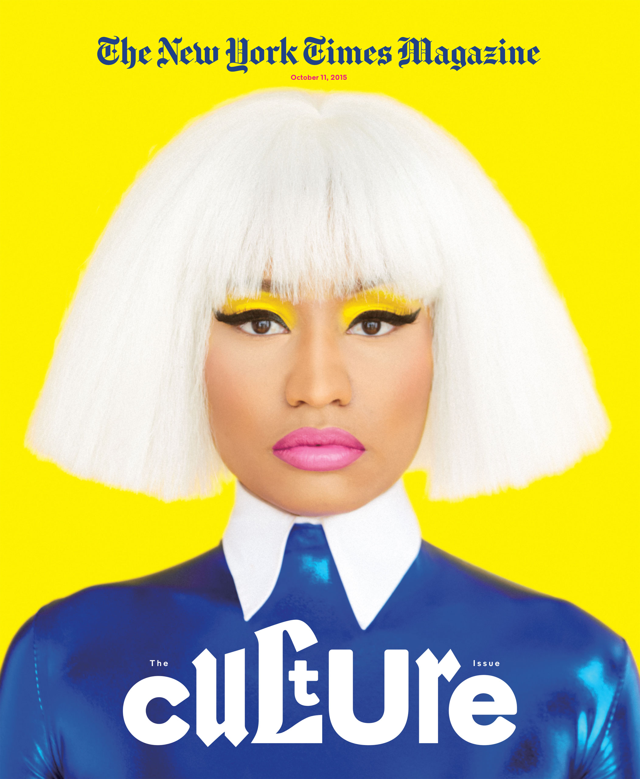 The New York Times Magazine, Culture, October 11, 2015.  Photograph by Erik Madigan Heck                                                              We commissioned Erik Madigan Heck to create this cover portrait of Nicki Minaj for our Culture Issue.  We wanted an elegant, somewhat stylized, mask-like portrait, to illustrate the themes of identity and self-reinvention that are explored in the issue. Heck's bright, colorful palette and strong graphic sensibility give this portrait of Minaj an iconic, beautiful presence.                               —Kathy Ryan, Director of Photography The New York Times Magazine                                                              I have always been interested in nudging photography into the realm of illustration. With Nicki, I wanted to showcase her in a Warholian way, as this character who we all know in an iconic, flat, illustrative manner.                                                              —Erik Madigan Heck, Photographer