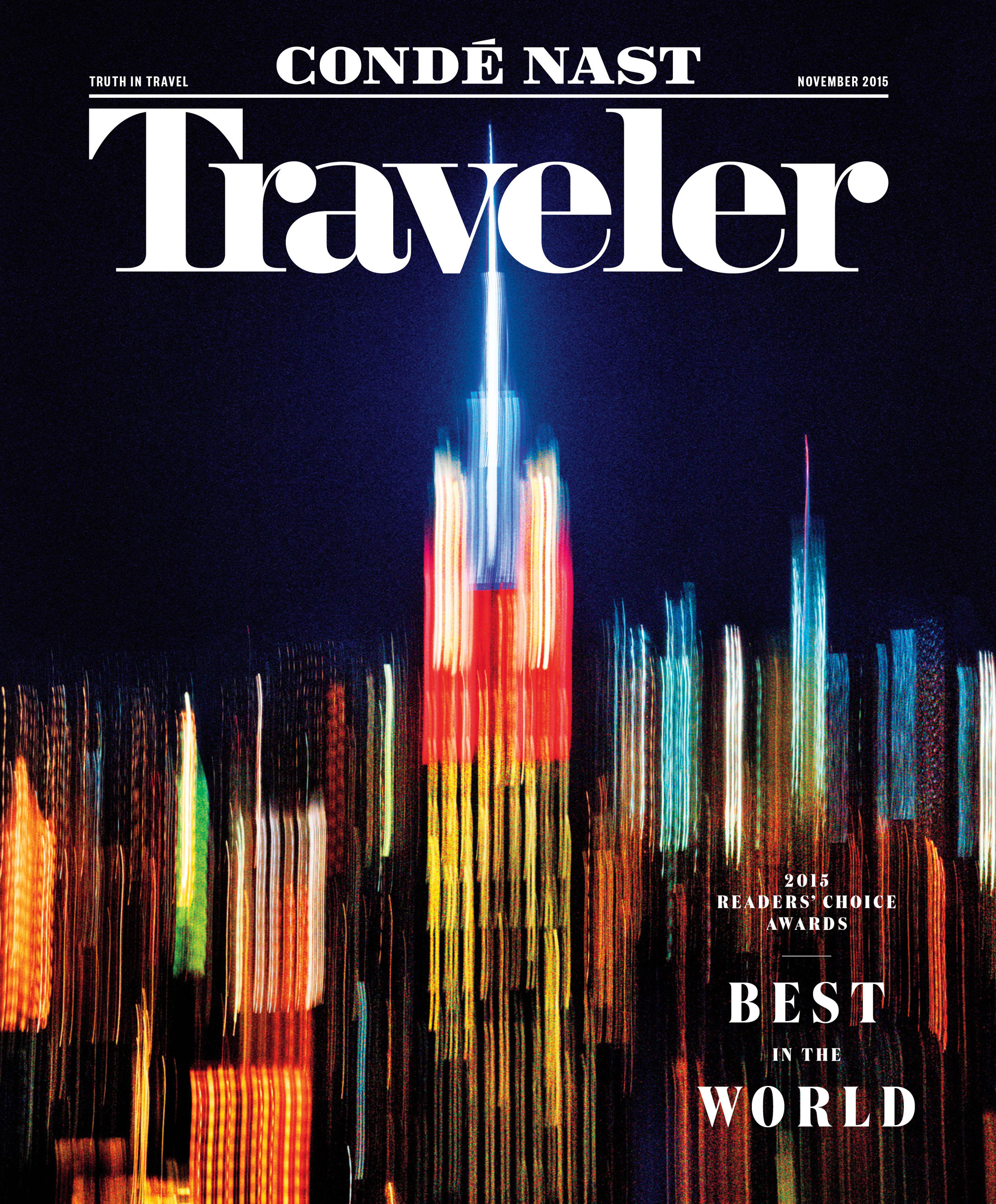 Traveler, November 2015.                               Photograph by Pari Dukovic.                                                              I asked Pari to shoot a love letter to New York City. Like the opening scene of Woody Allen's 1979 film, Manhattan, or Bernice Abbott's seminal images from the 1930s, we wanted to create images that are timeless and romantic, that reflect our nostalgic affection for the city. Pari shot film which is a nice nod to the iconic New York City images from the past.                                                              —Jennifer Miller, Photo Director, Conde Nast Traveler.                                                                                             It is a challenge to make a memorable image of a subject that has been photographed often. Especially when the assignment is the New York City skyline. Imagine seeing the skyline for the first time and how exhilarating it is to experience the energy and vibrancy of the whole city. I wanted to portray this visual impression in a painterly way.                                                              —Pari Dukovik, Photographer