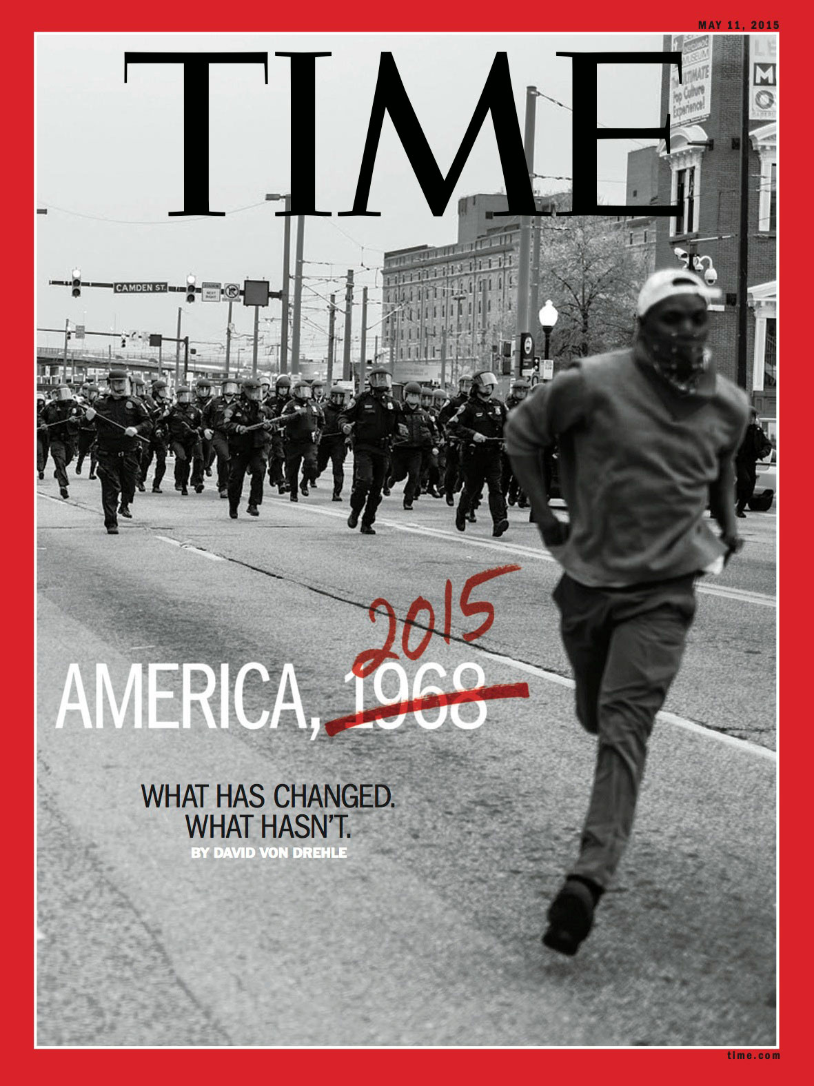 TIME, May 11, 2015. Photograph by Devin Allen.                                                              The cover of TIME was huge and life changing, it's still a dream to me. It was amazing not just for me, but for my city; showing us how even the little people can change the world. Now I can tell people dreams really do come true. The TIME cover has made me somewhat of a D-list celebrity. But the most important thing is that it has put me in a position to help my community. I have started my own photography outreach program working with the youth on Penn-North. I thought it was an OK picture but I did not know how powerful it was. I never thought it would become an iconic image.                                                              —Devin Allen, Photographer