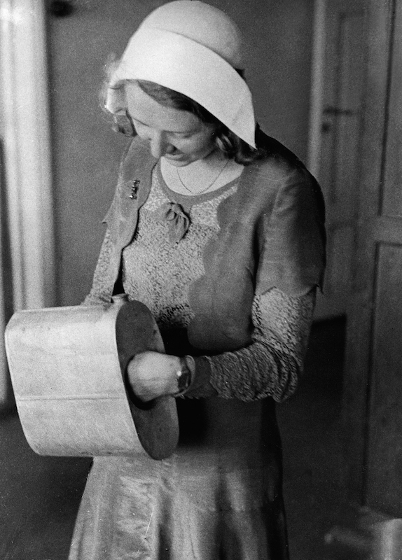 A Finnish woman in 1931 shows how bootleggers used a muff (or handwarmer) to transport alcohol