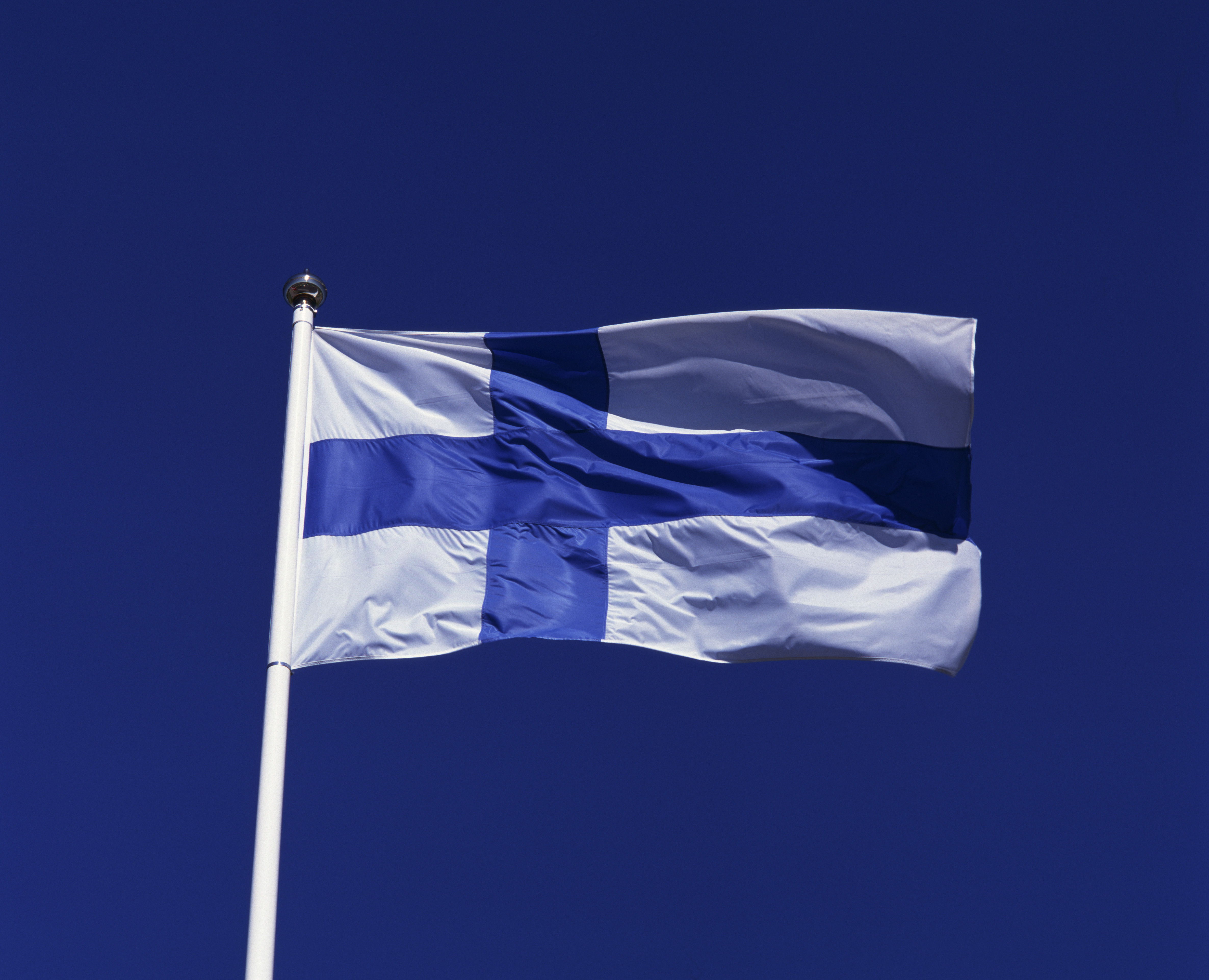 Finland, Flag, Finnish flag flapping in the wind.