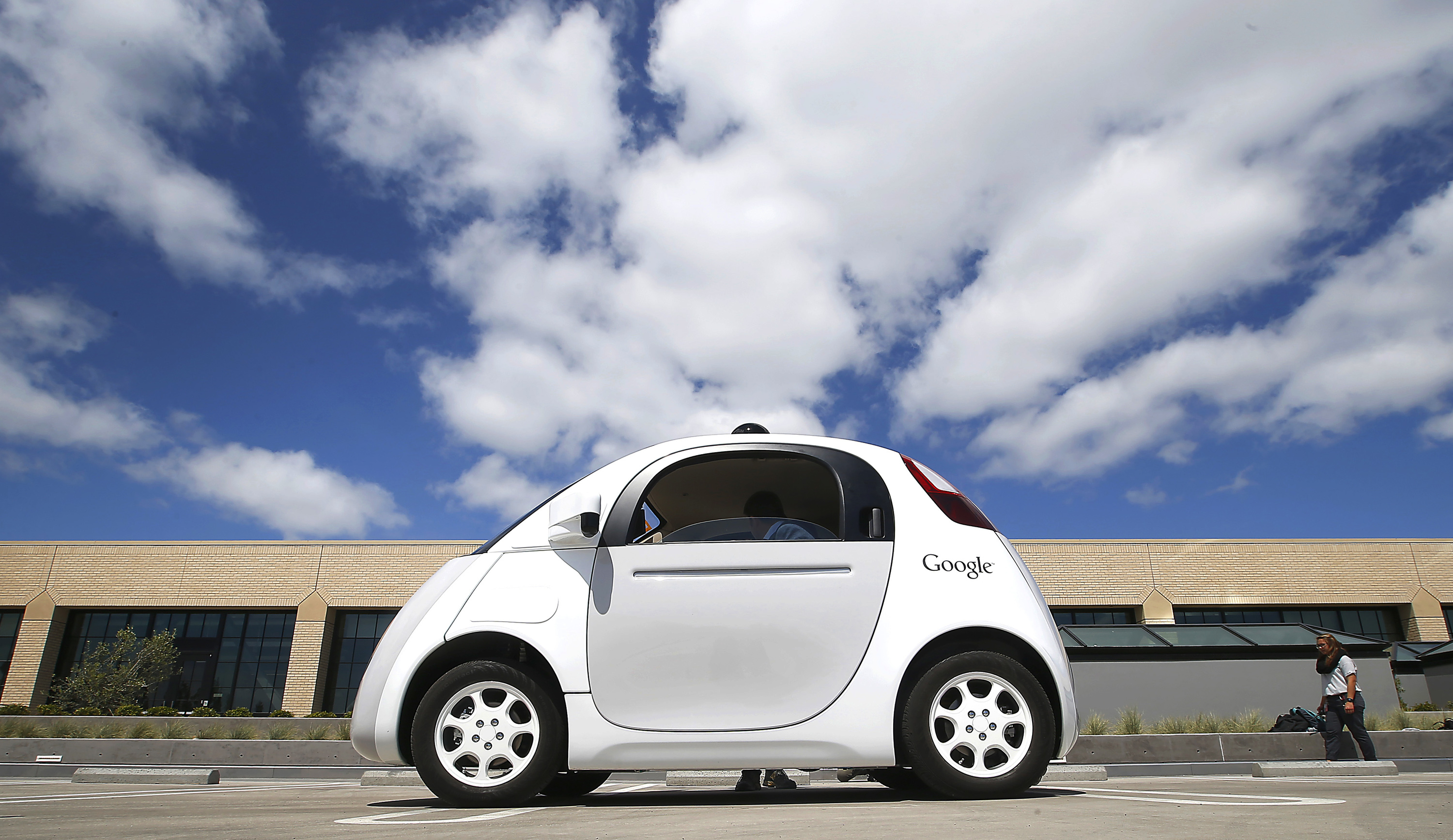Google's new self-driving prototype car is presented during a demonstration at the Google campus in Mountain View, Calif. on May 13, 2015.