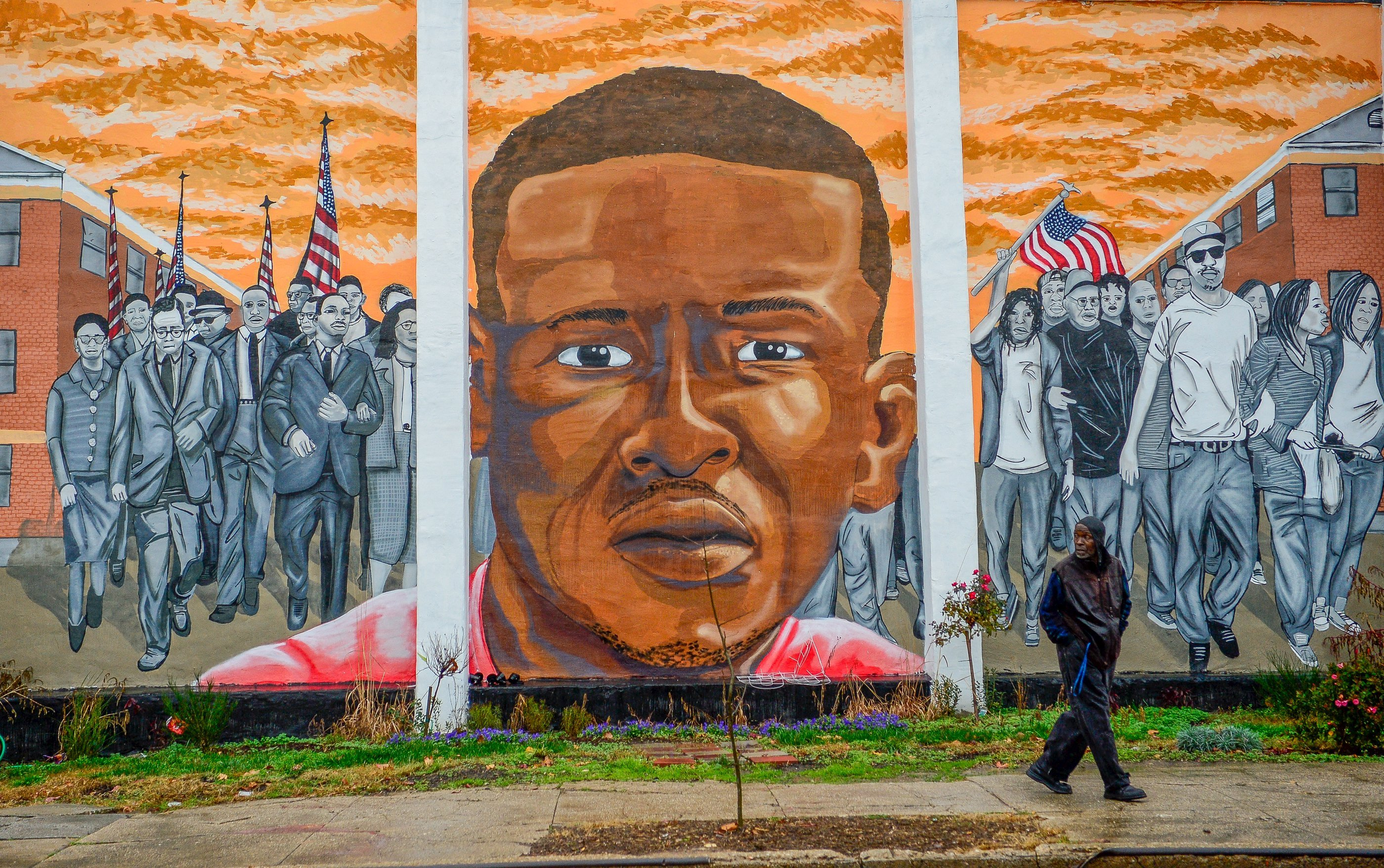 A mural of Freddie Gray in the Sandtown-Winchester neighborhood of Baltimore on Dec. 17, 2015.
