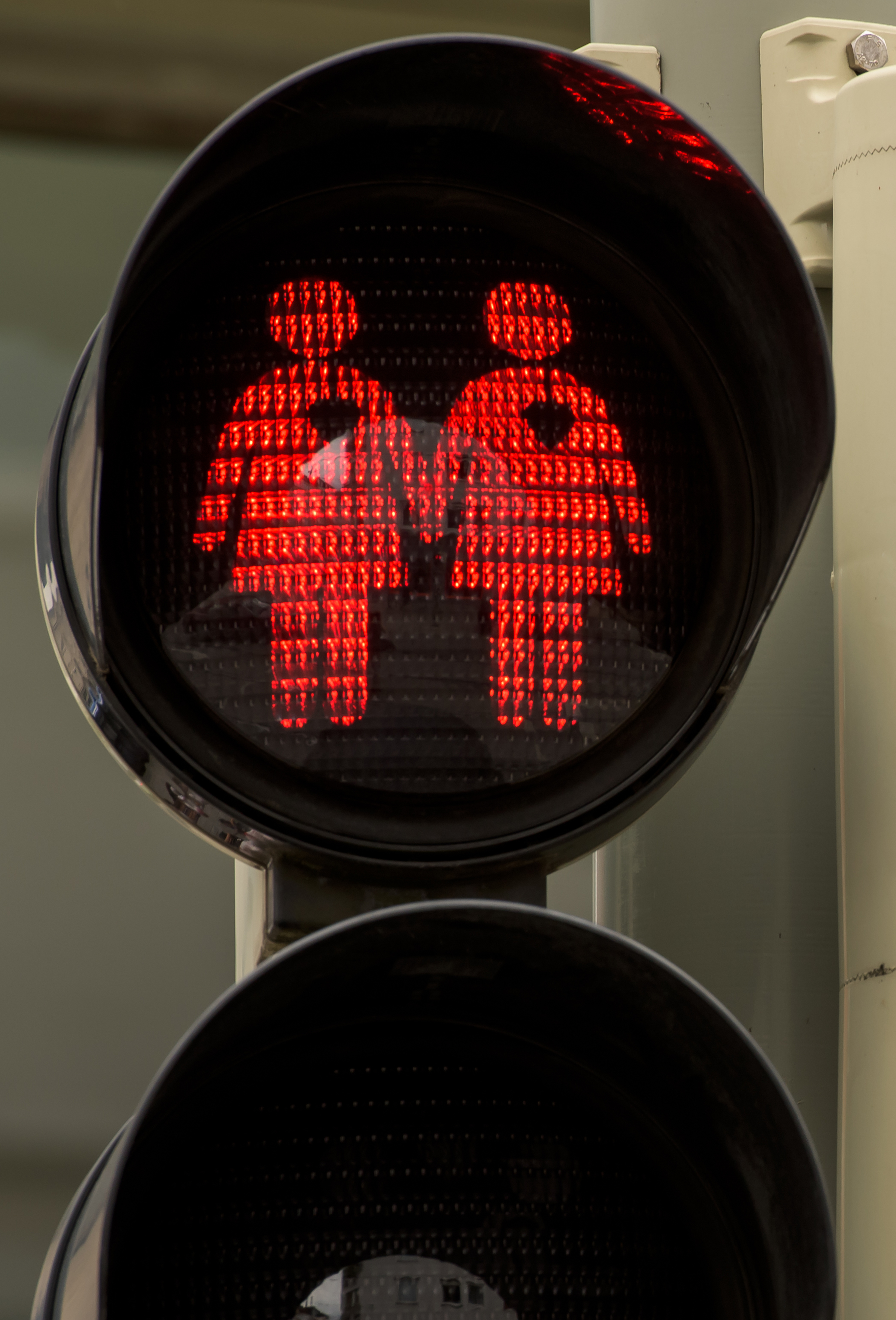 A pedestrian crossing signal showing a female homosexual couple at a junction on July 14, 2015 in Munich.