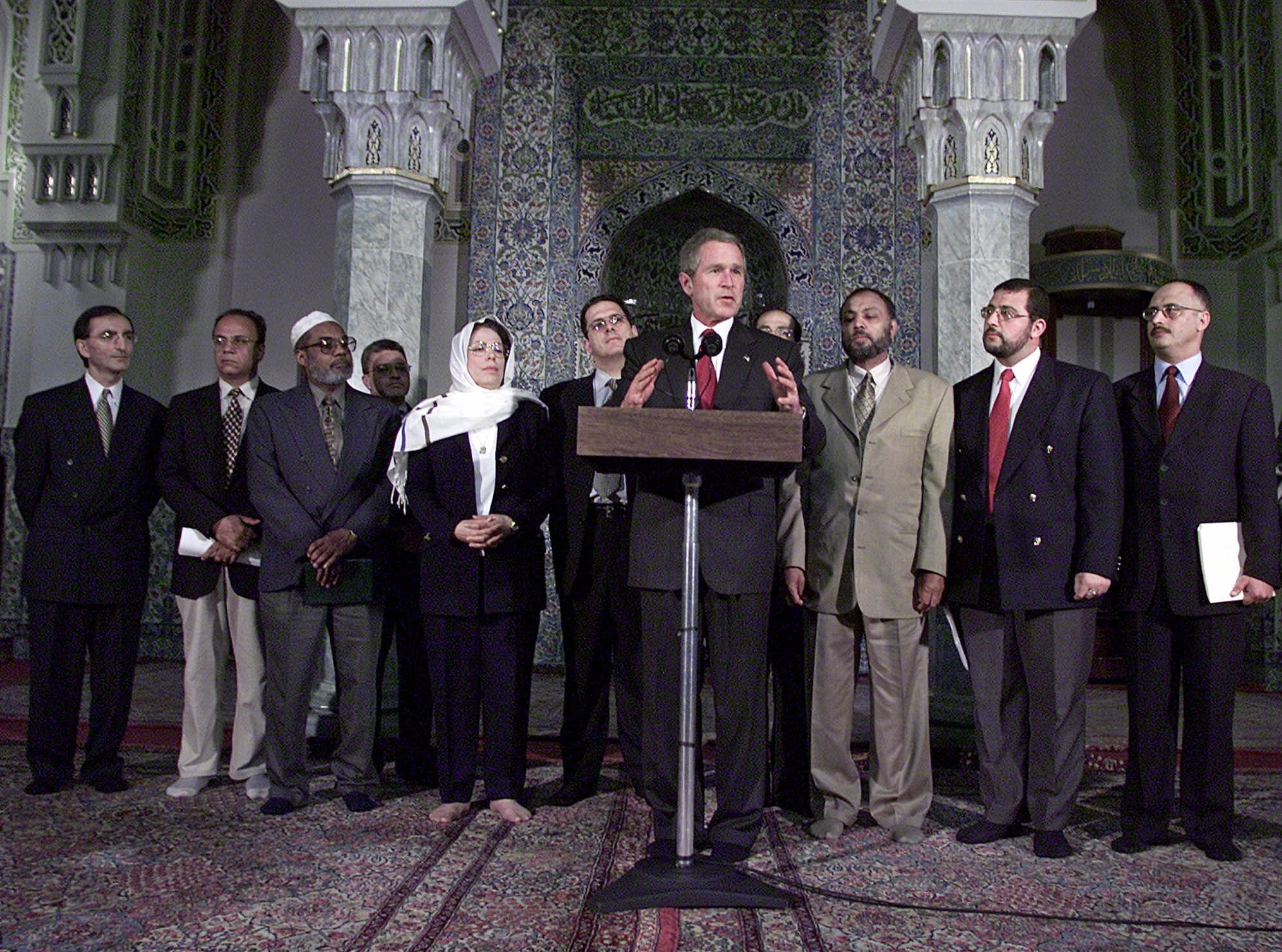 President Bush stands with Islamic leaders during a visit to the Islamic Center of  Washington, Sept. 17, 2001, to try to put an end to rising anti-Muslim sentiment in the wake of 9/11.