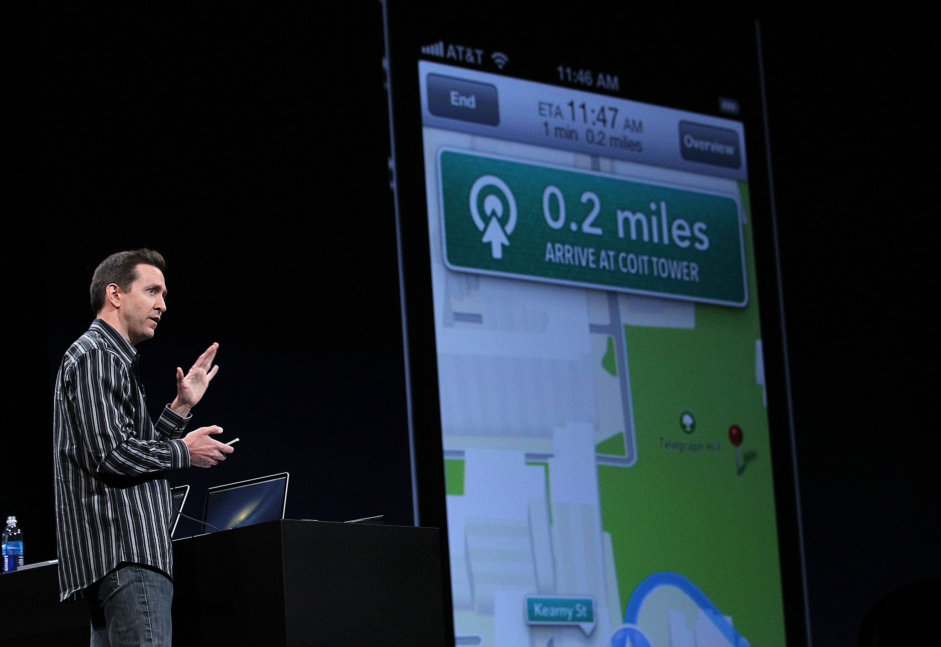 Apple Senior VP of iPhone Software Scott Forstall demonstrates Apple Maps on iOS 6  during the keynote address during the 2012 Apple WWDC keynote address at the Moscone Center on June 11, 2012 in San Francisco, California.