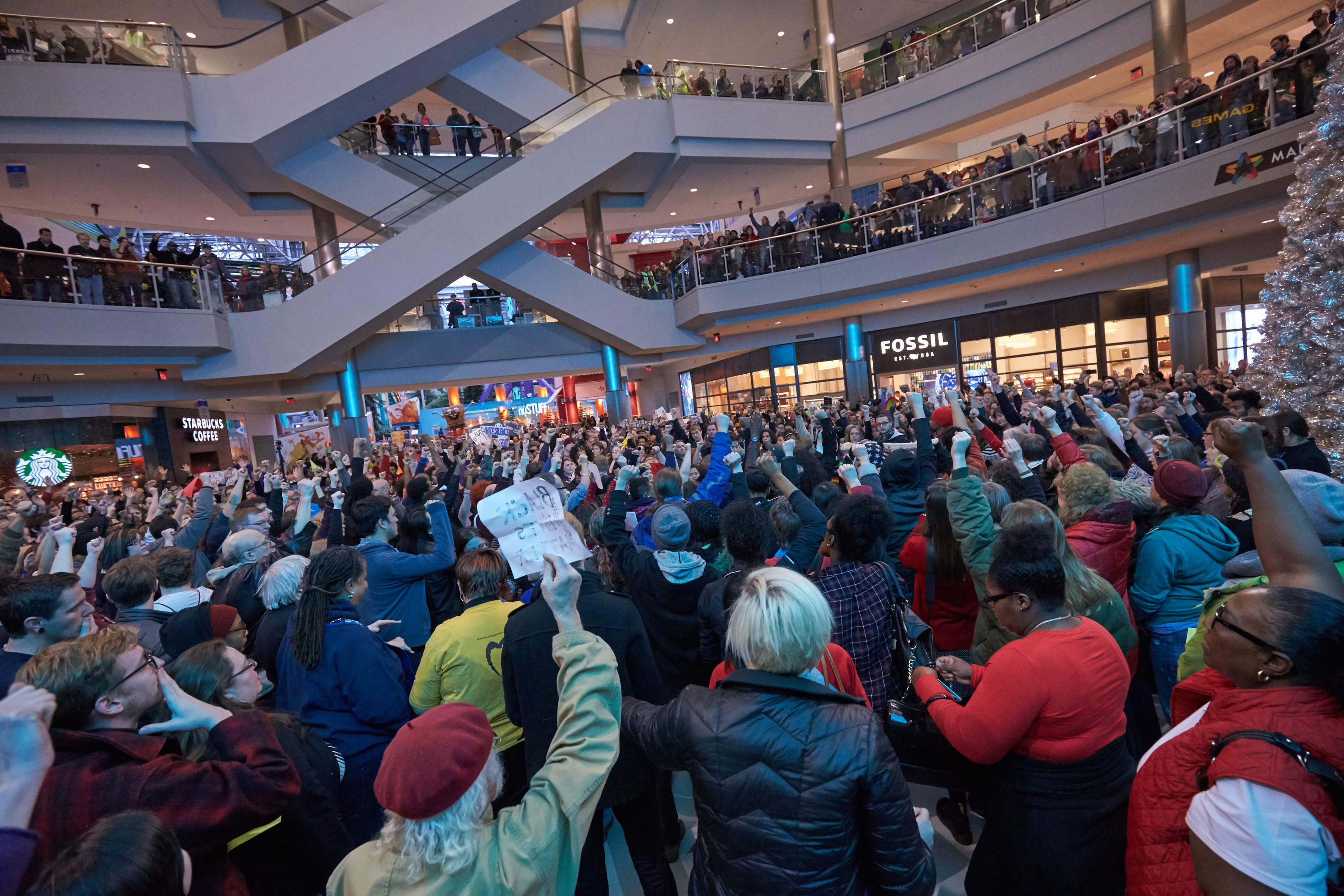 Thousands of protesters from the group  Black Lives Matter  disrupt holiday shoppers on Dec. 20, 2014 at Mall of America in Bloomington, Minnesota.