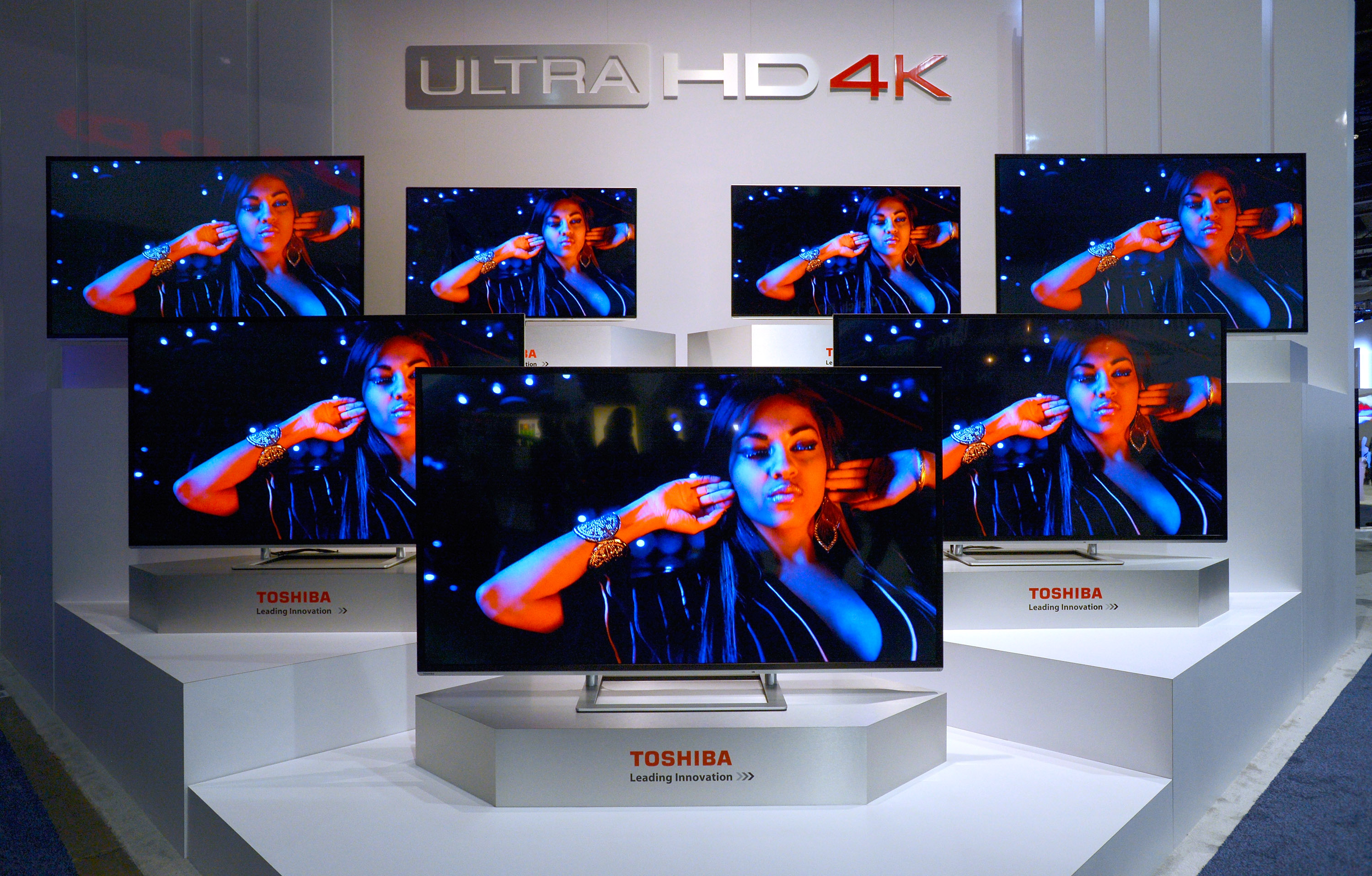 Toshiba Ultra HD 4K televisions are on display at the Toshiba booth at the 2014 International CES at the Las Vegas Convention Center on January 7, 2014 in Las Vegas, Nevada.