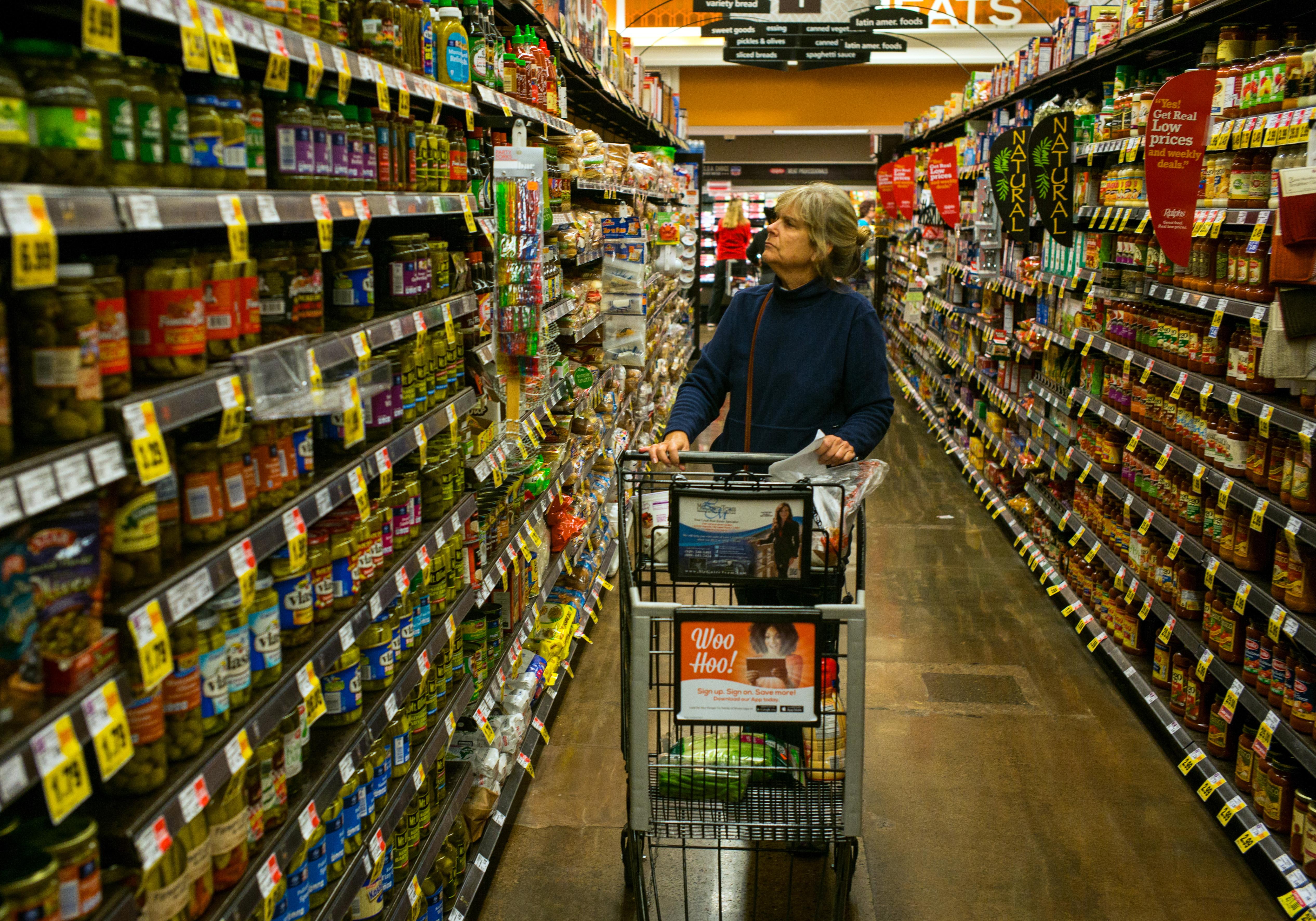A woman shops at a Ralphs supermarket Dec. 26, 2014 in San Juan Capistrano, Calif.