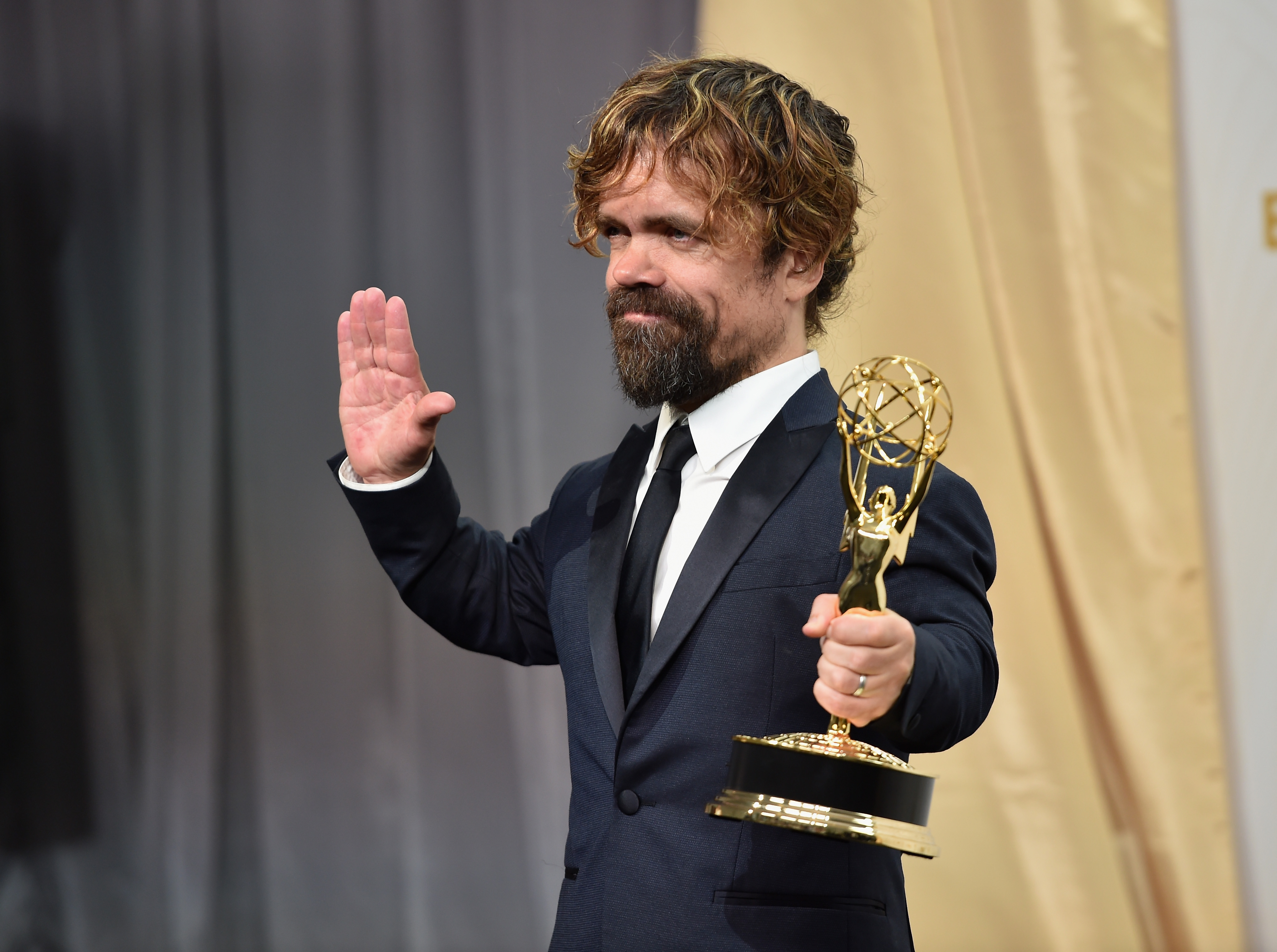 Actor Peter Dinklage, winner of Outstanding Supporting Actor in a Drama Series for 'Game of Thrones', at the 67th Annual Primetime Emmy Awards on Sept. 20, 2015 in L.A.