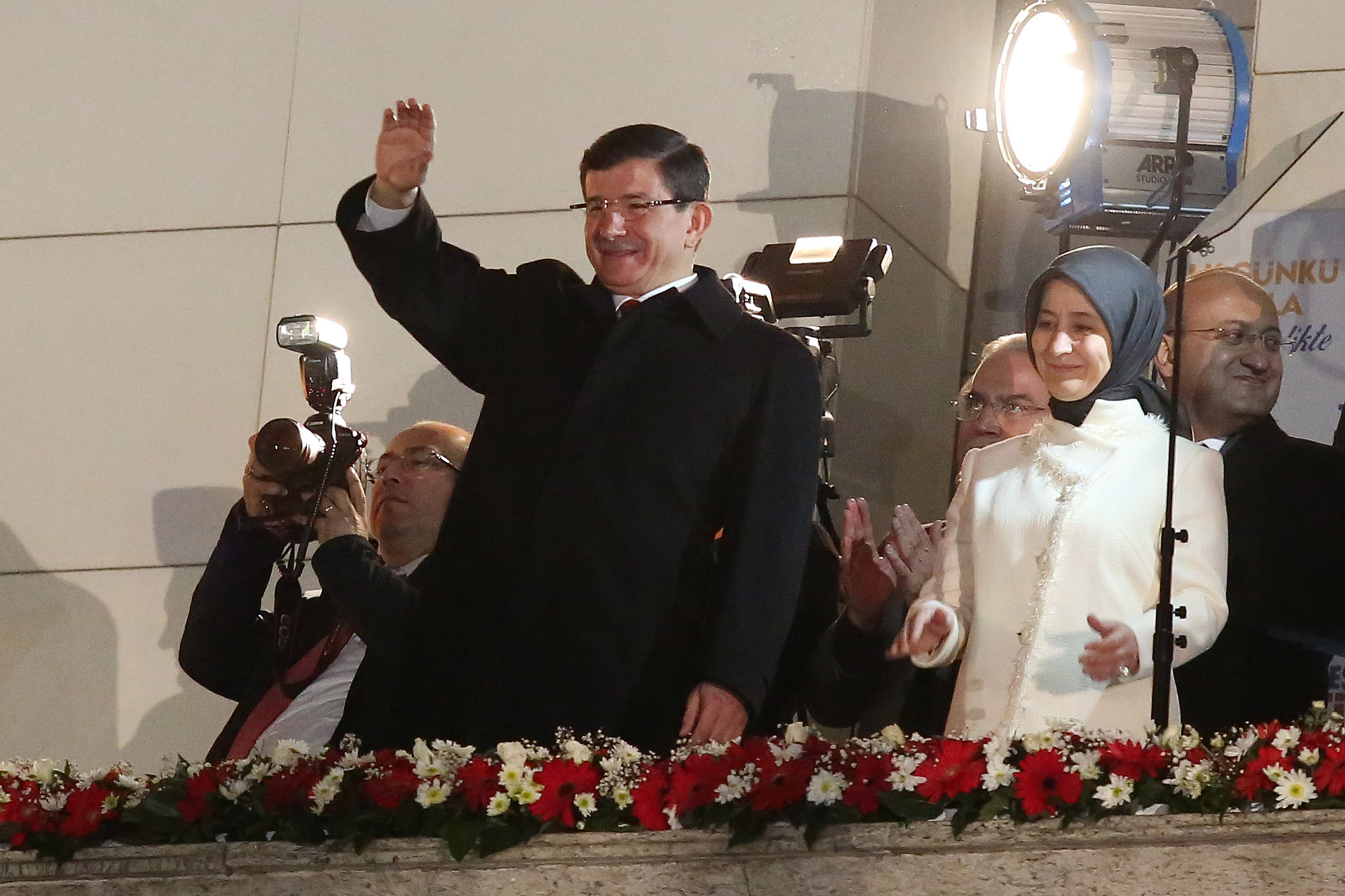 Turkish Prime Minister Ahmet Davutoglu waves to supporters on Nov. 1, 2015, in Ankara, after his party won a critical election after losing a majority back in June