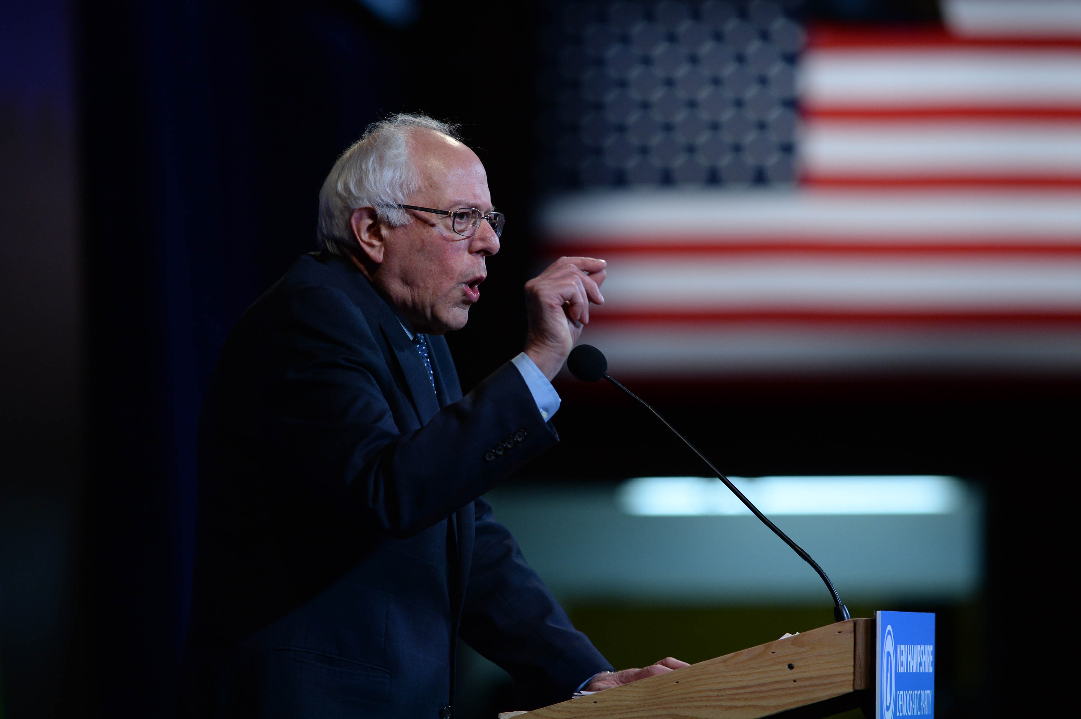 Democratic Presidential candidate Bernie Sanders speaks at the Jefferson Jackson Dinner at the Radisson Hotel November 29, 2015 in Manchester, New Hampshire.