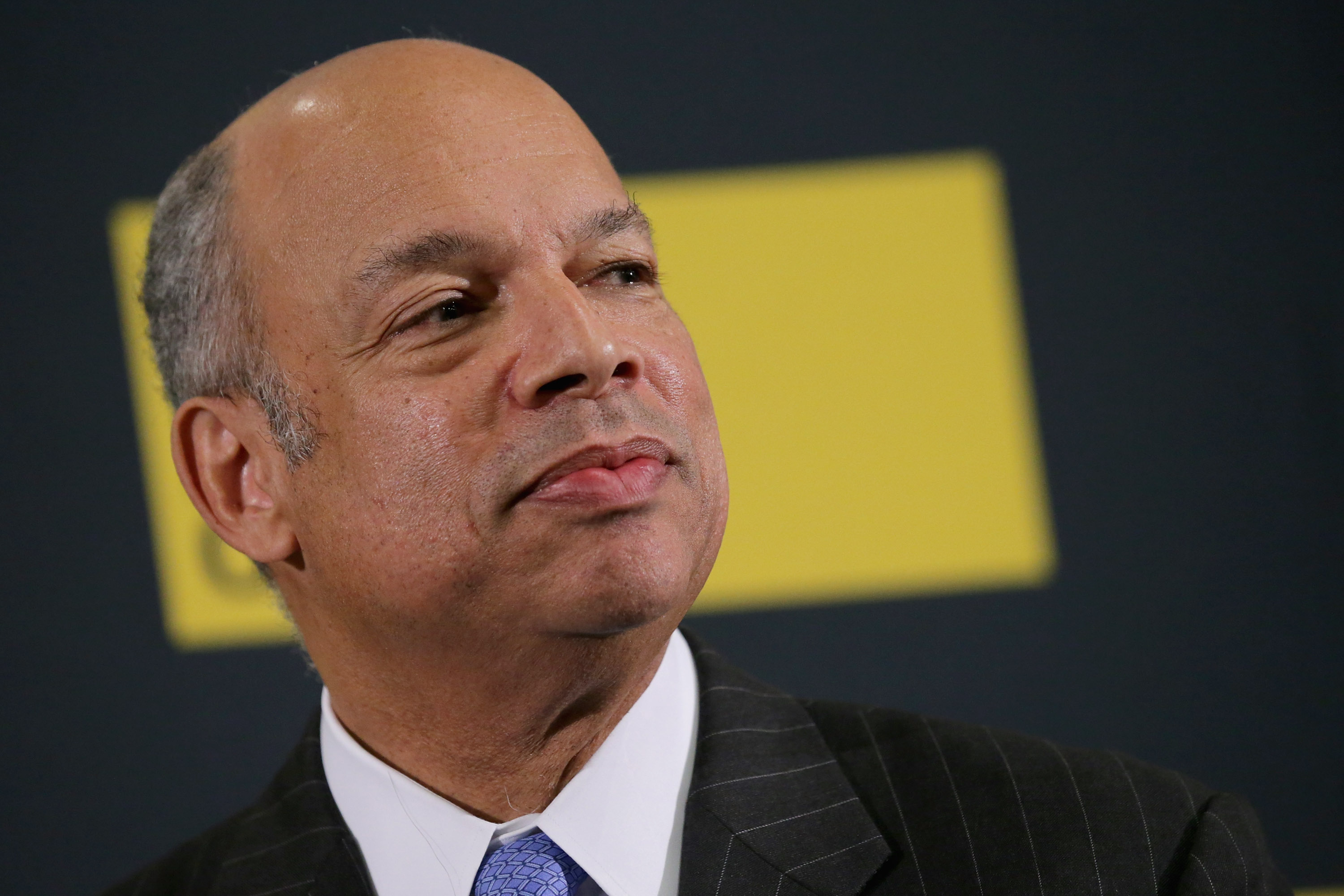 U.S. Homeland Security Secretary Jeh Johnson (R) participates in a conversation during an event sponsored by Defense One at the District Architecture Center December 7, 2015 in Washington, DC.