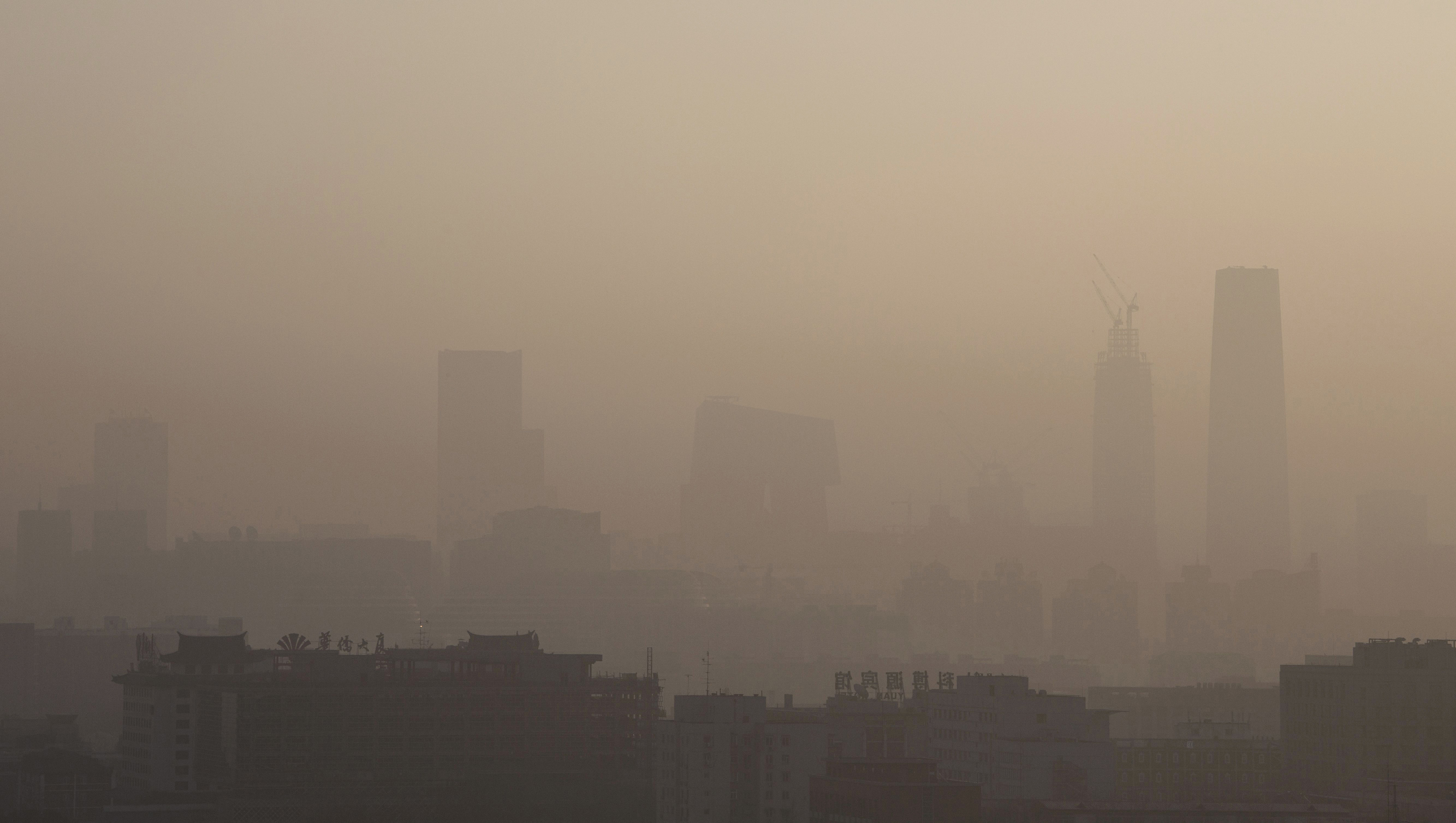 The skyline of Beijing under severe smog and pollution on Dec. 10, 2015