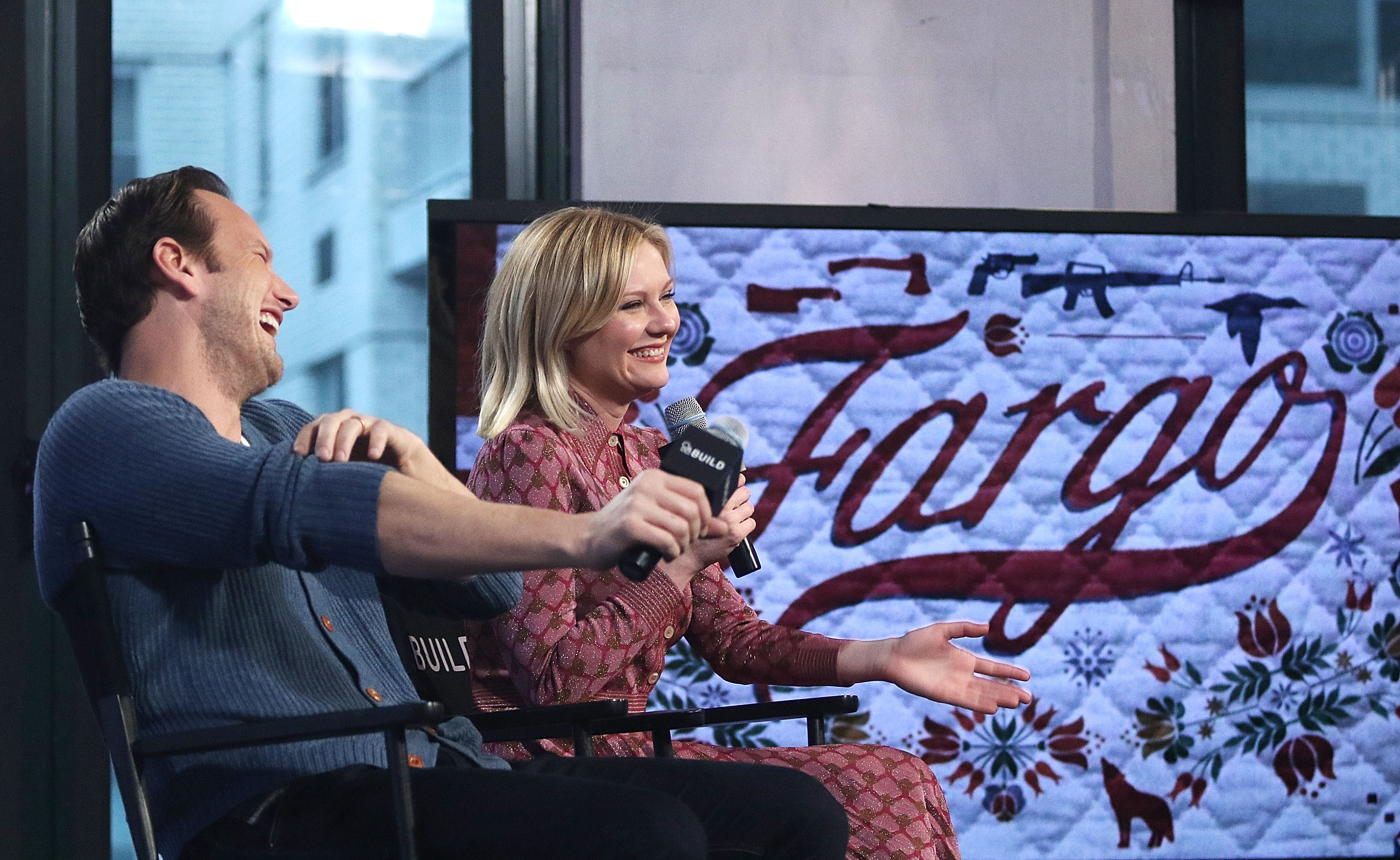 Kirsten Dunst and Patrick Wilson from 'Fargo' attend AOL BUILD Series on Dec. 11, 2015 in New York City.