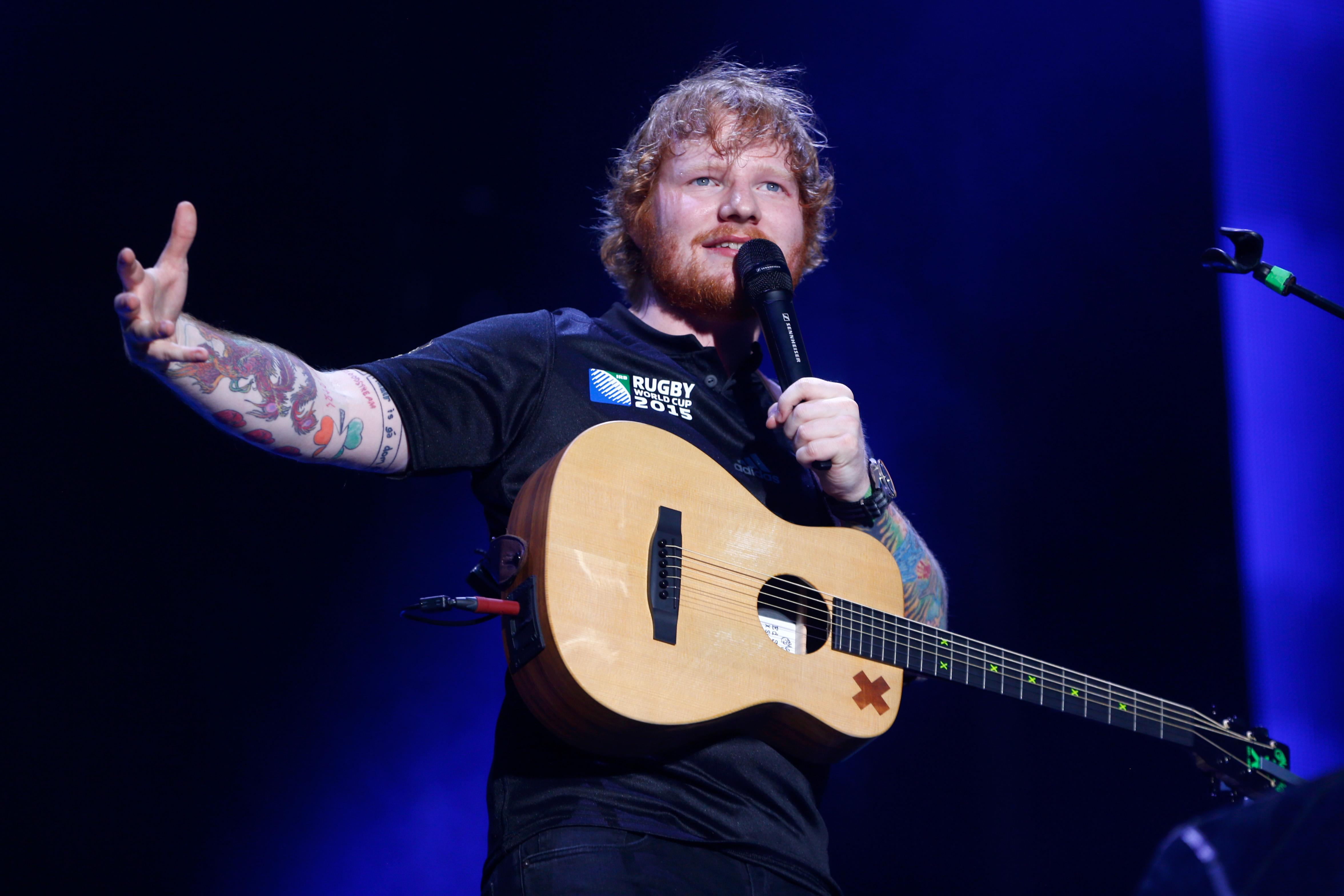 Ed Sheeran performs at Mt Smart Stadium on Dec. 12, 2015 in Auckland, New Zealand.