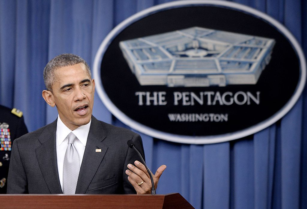 President Obama talks about the U.S.-led war on ISIS at the Defense Department on Monday.