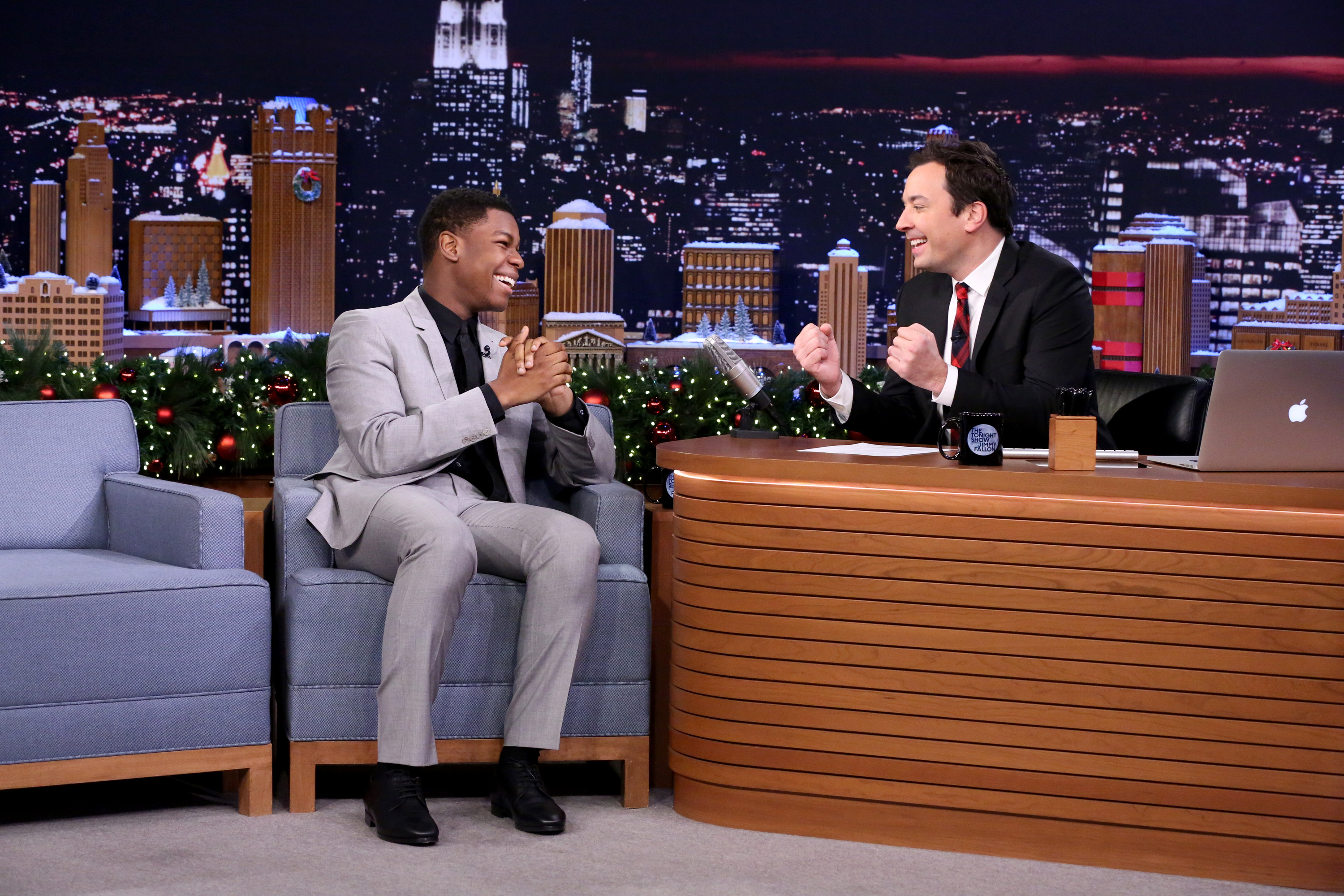 Actor John Boyega during an interview with host Jimmy Fallon on December 18, 2015