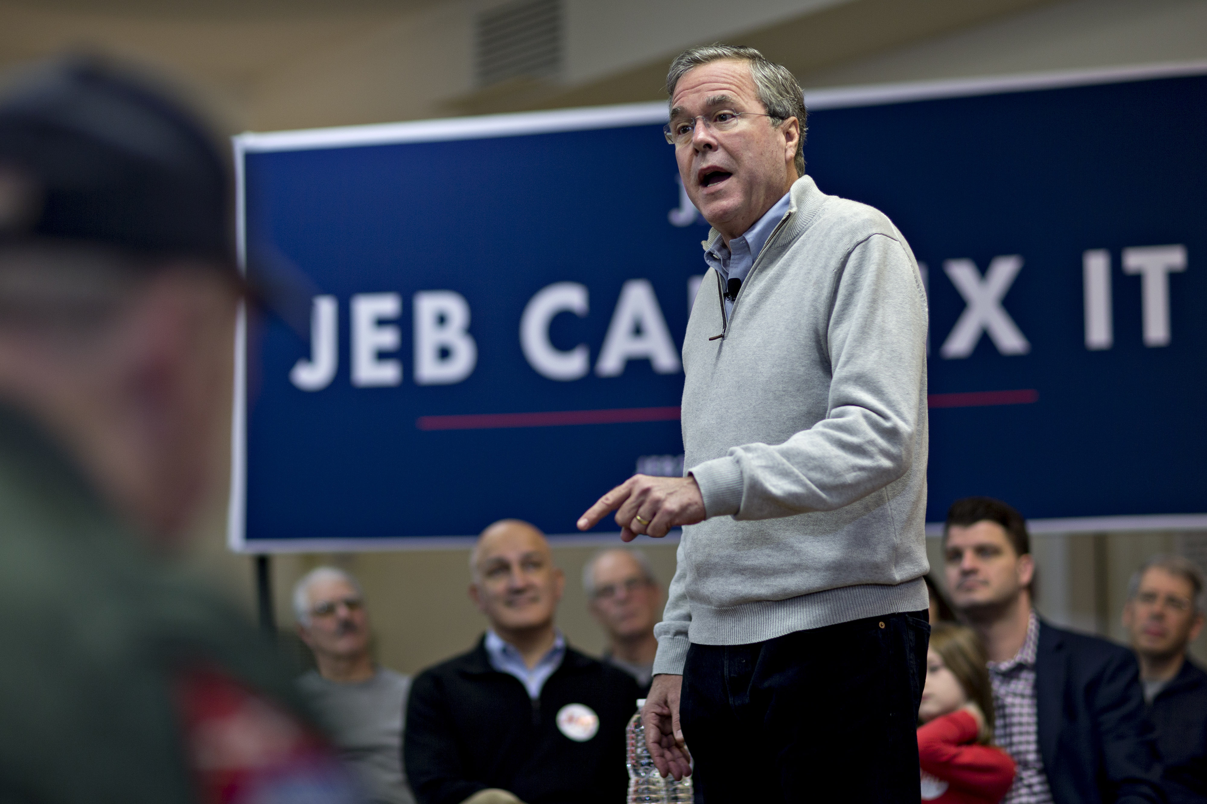 Jeb Bush, former governor of Florida and 2016 Republican presidential candidate, speaks during a town hall campaign stop at the E. Roger Montgomery American Legion Post 81 in Contoocook, New Hampshire, U.S. on Saturday, Dec. 19, 2015. At Tuesday's presidential debate this week Bush lobbed six full-frontal assaults on front-runner Donald Trump, who he at one point dubbed Trump a  chaos candidate.