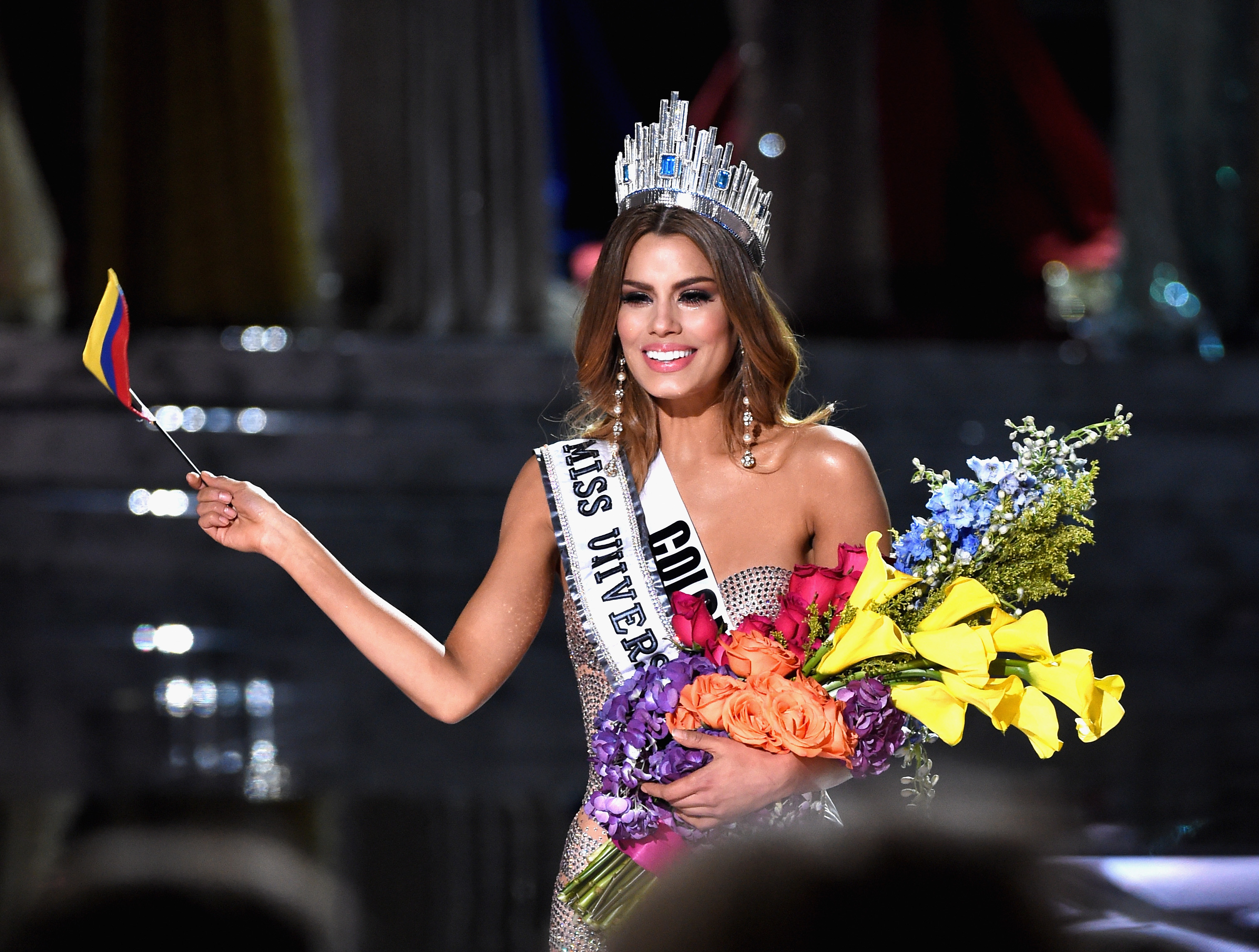 Miss Colombia 2015, Ariadna Gutierrez, is incorrectly named Miss Universe 2015 on Dec. 20, 2015 in Las Vegas, Nevada.