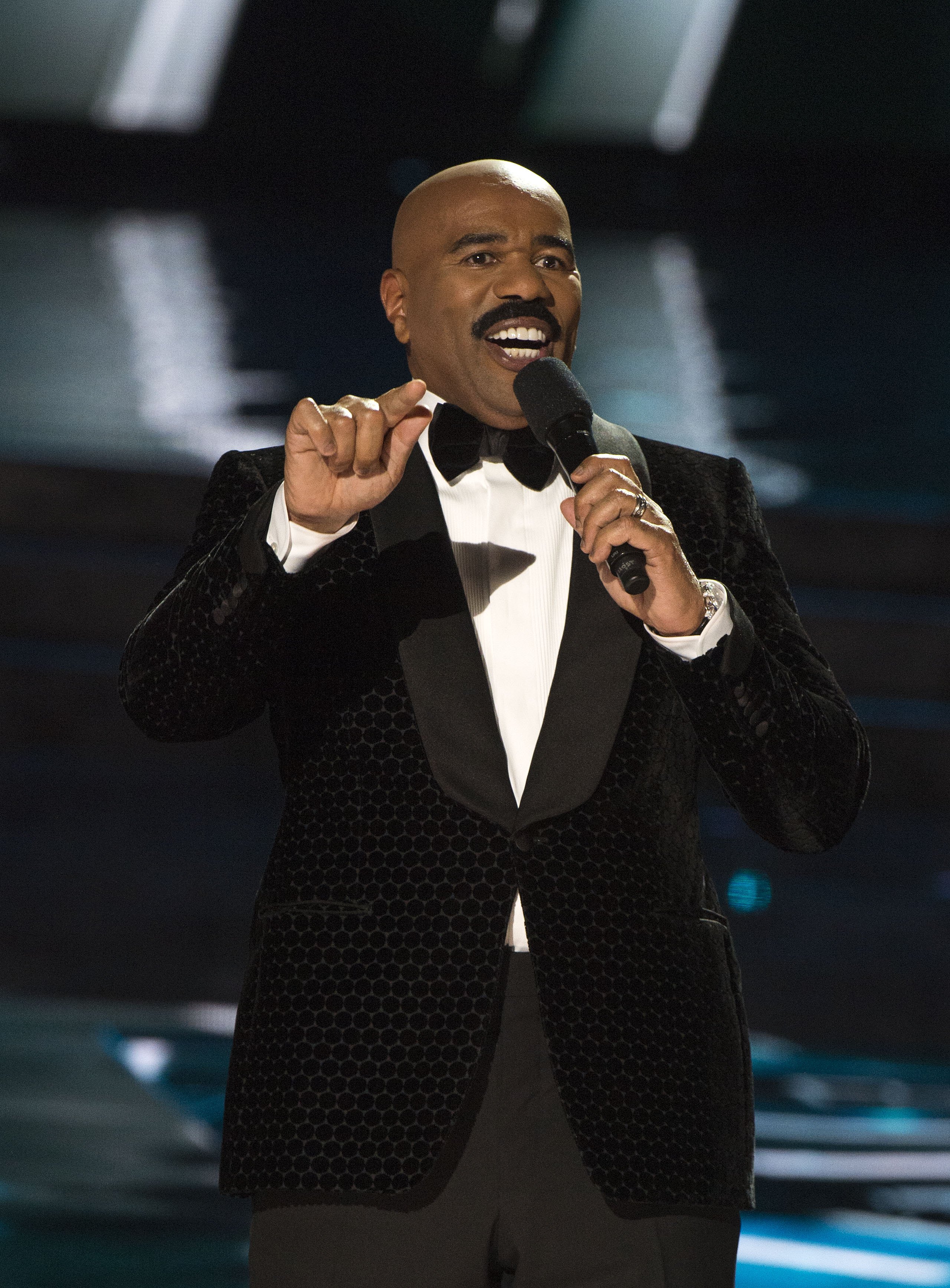 Host Steve Harvey performs  during The 2015 MISS UNIVERSE Show at Planet Hollywood Resort & Casino, in Las Vegas, California, on December 20, 2015.