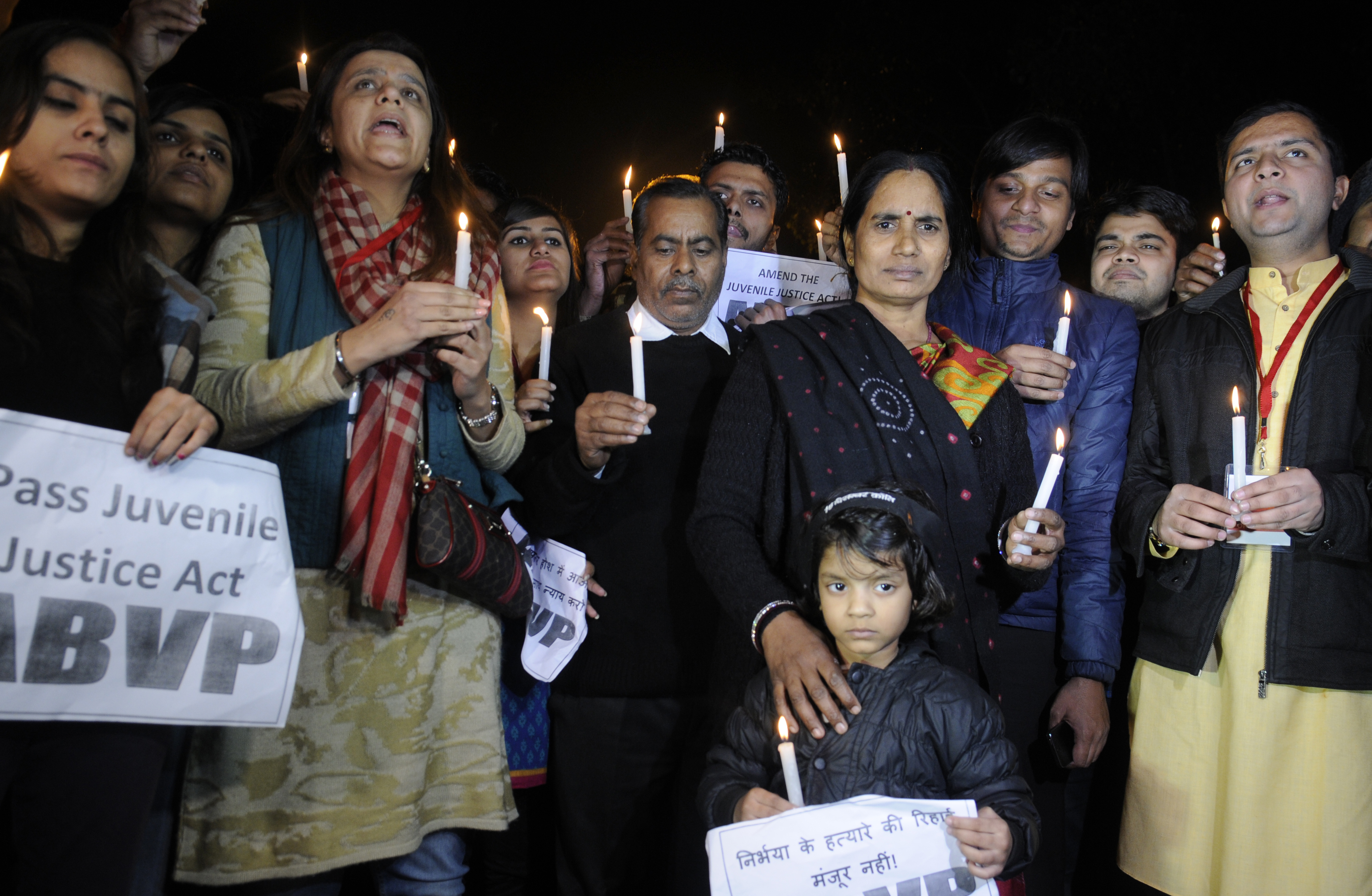 Parents of Jyoti Singh along with activists during a protest against the release of juvenile convict of the 2012 gang-rape case on Dec. 21, 2015, in New Delhi